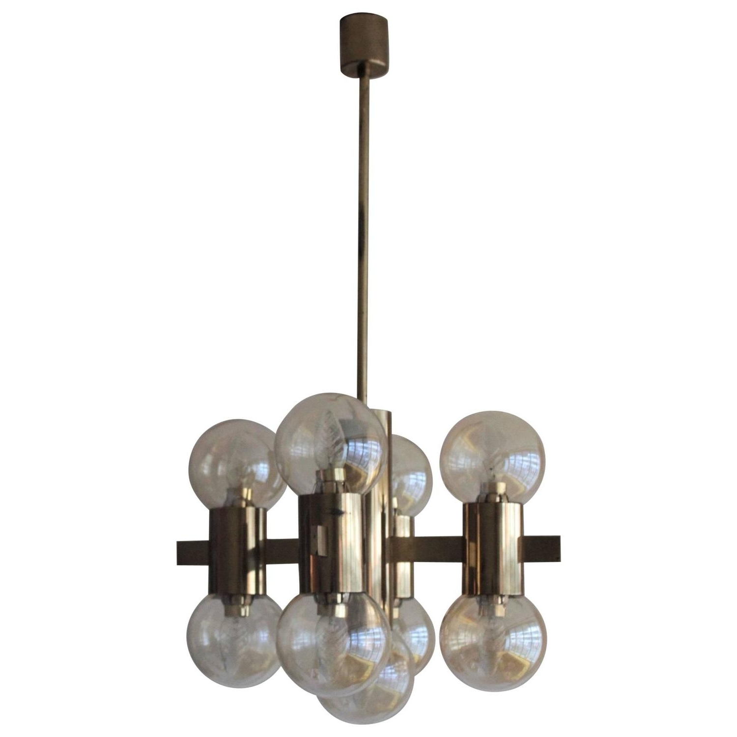 Italian Brass Smoked Glass Chandelier, 1970S For Sale At 1Stdibs Intended For Most Recently Released Smoked Glass Chandelier (View 6 of 20)