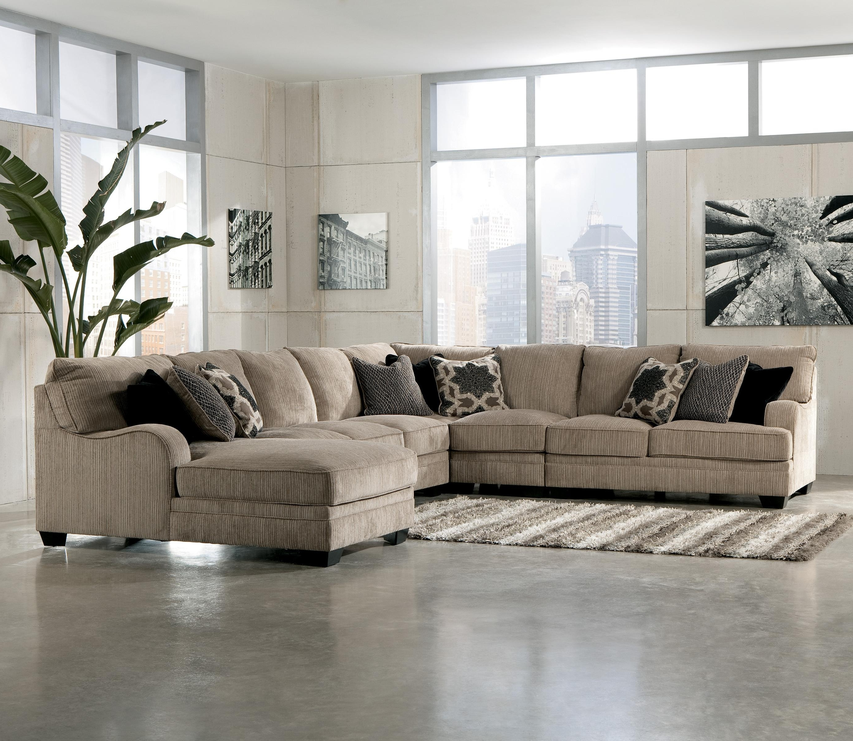 Ivan Smith Sectional Sofas Pertaining To Best And Newest Signature Designashley Katisha – Platinum 5 Piece Sectional (View 7 of 20)