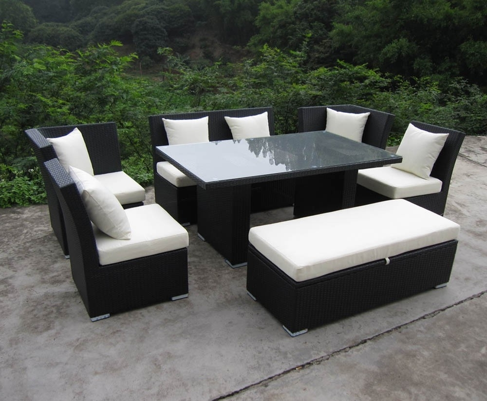 Jamaica Sectional Sofas Pertaining To Current Jamaican Sofa And Dining Set In Black Wicker, Ivory Fabric (View 8 of 20)