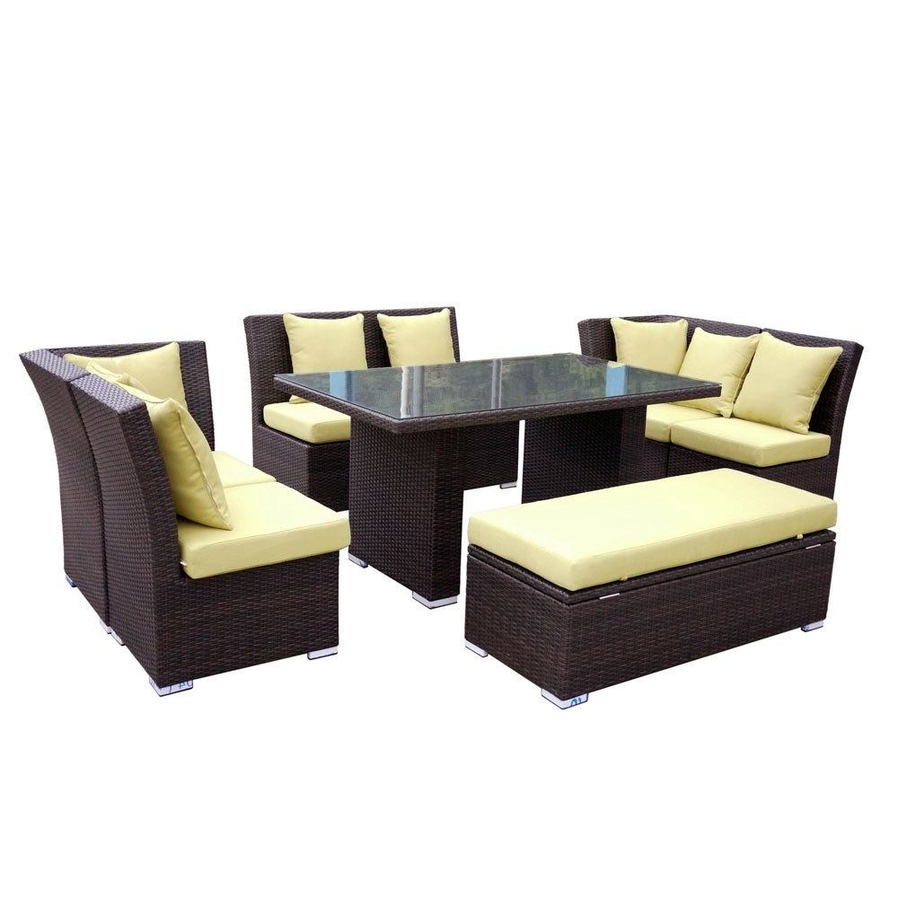 Jamaican Sofa And Dining Set In Brown Wicker, Light Green Fabric Within Most Popular Jamaica Sectional Sofas (View 11 of 20)