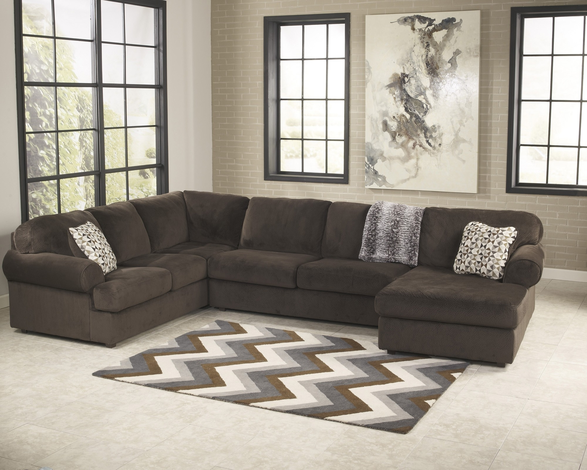 Jessa Place Chocolate 3 Piece Sectional Sofa For $ (View 4 of 20)
