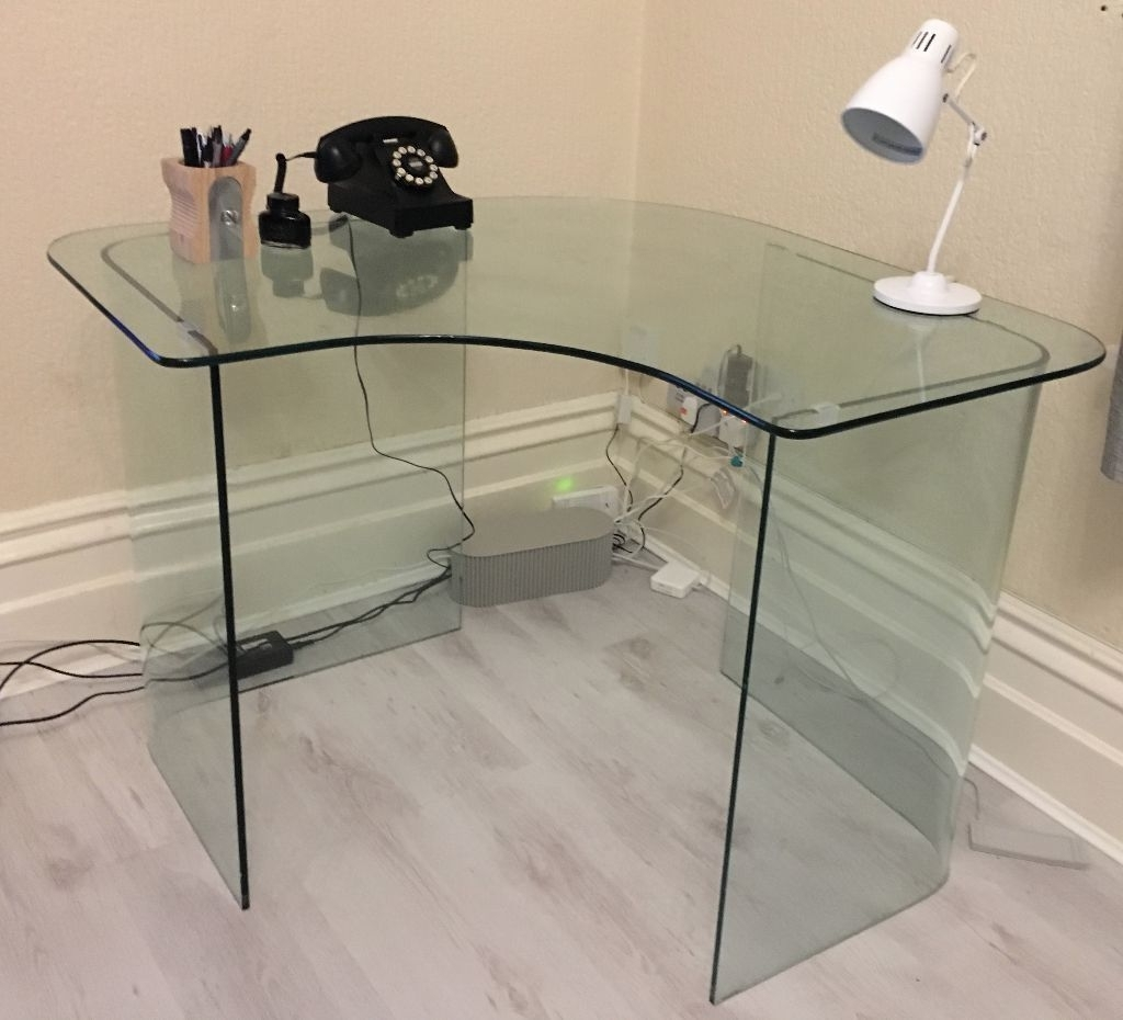 John Lewis Corner Computer Desks Regarding Most Current John Lewis Staten Glass Corner Desk – Excellent Condition (View 11 of 20)