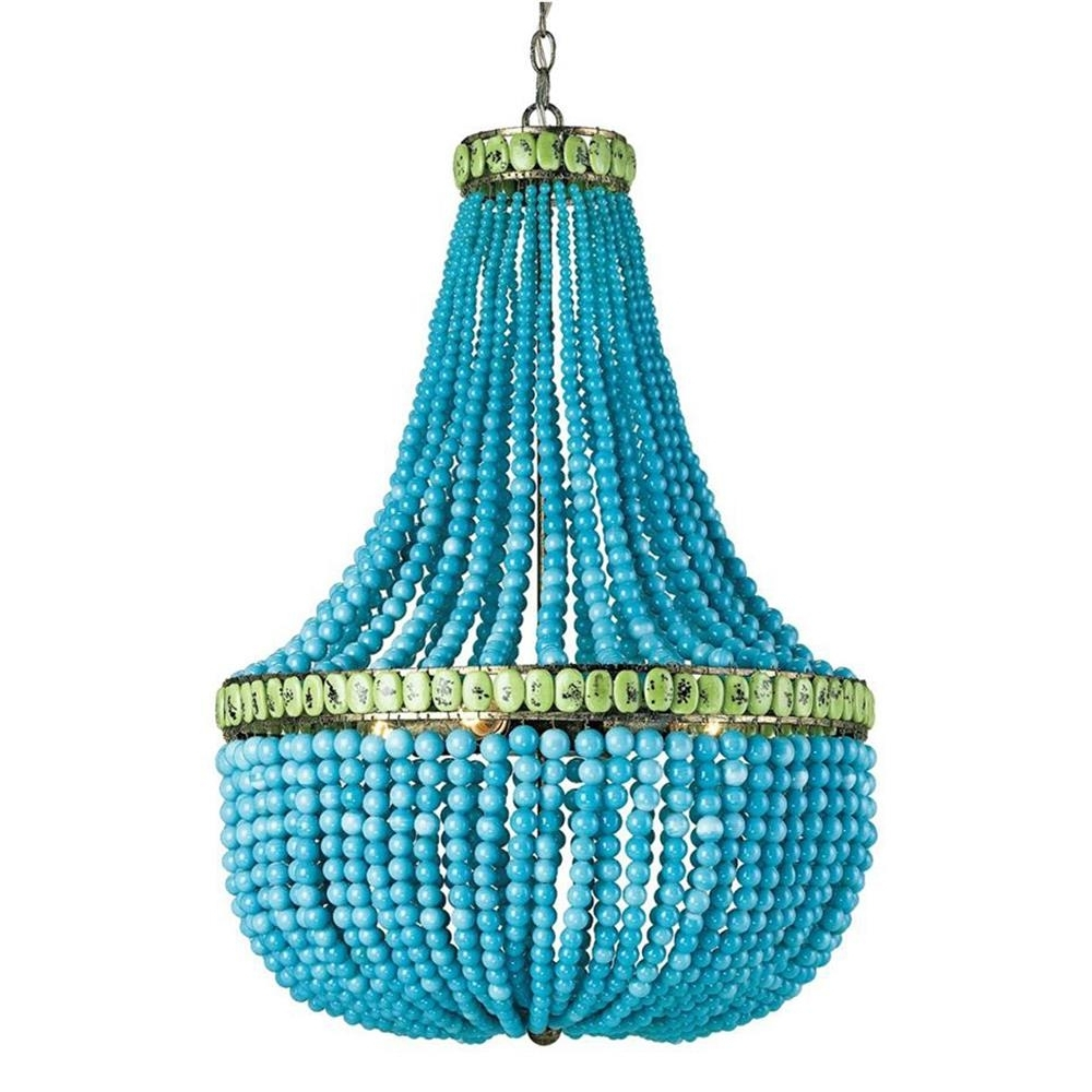 Kathy Kuo Home Throughout Turquoise Blue Beaded Chandeliers (View 7 of 20)