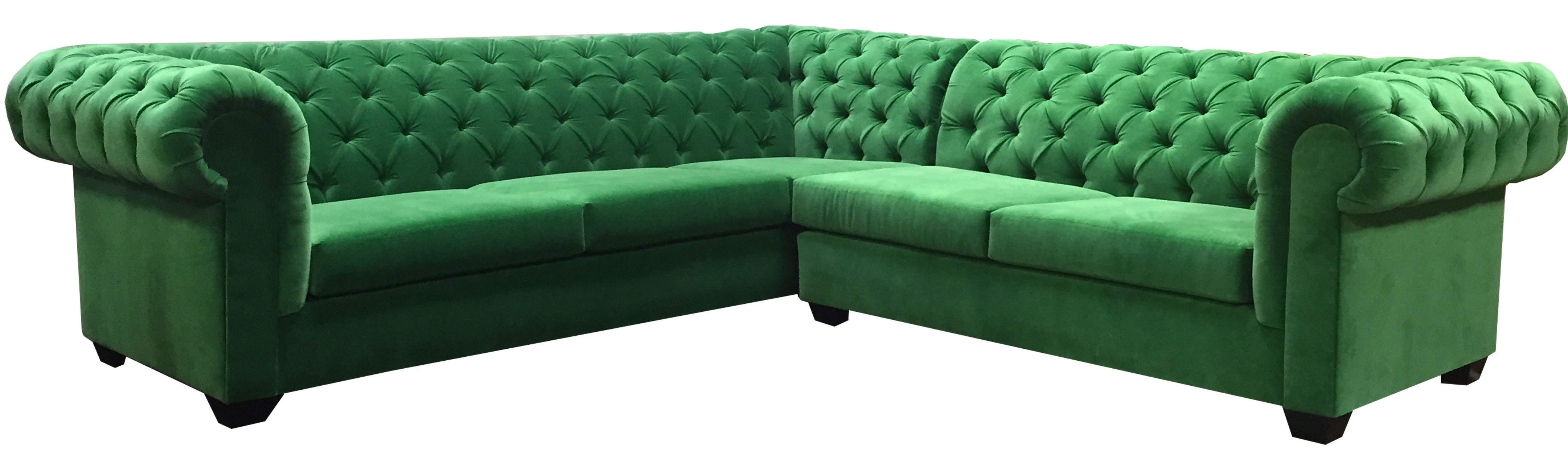 Kelly Green 'l' Sectional – Velvet – Designer8 Intended For Latest Green Sectional Sofas (View 11 of 20)