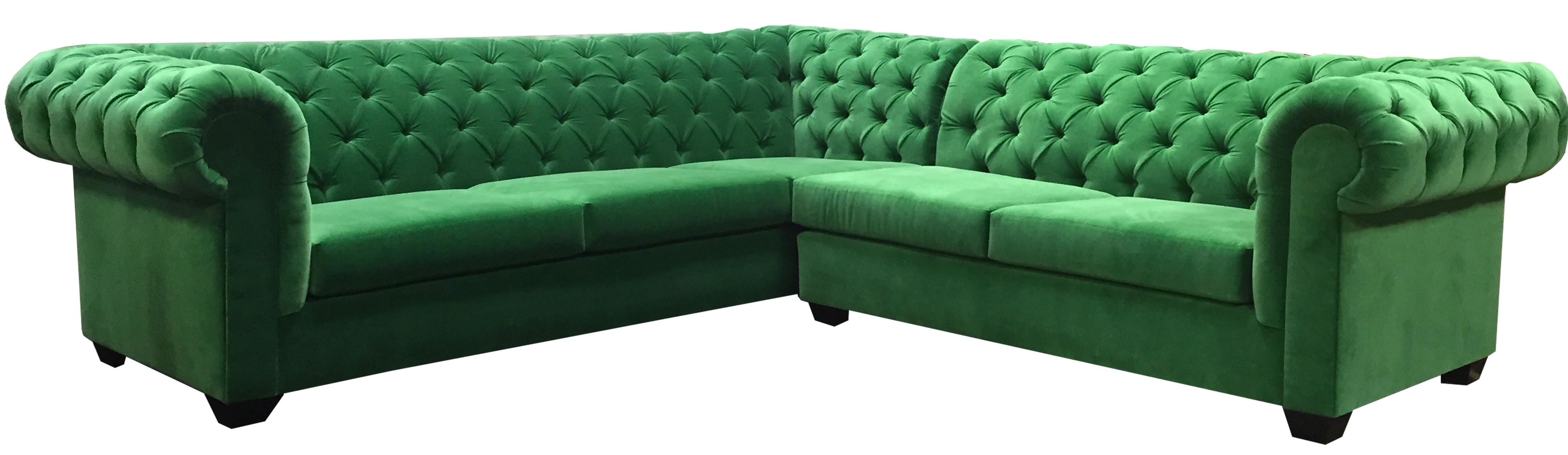 Kelly Green 'l' Sectional – Velvet – Designer8 Intended For Latest Green Sectional Sofas (View 14 of 20)