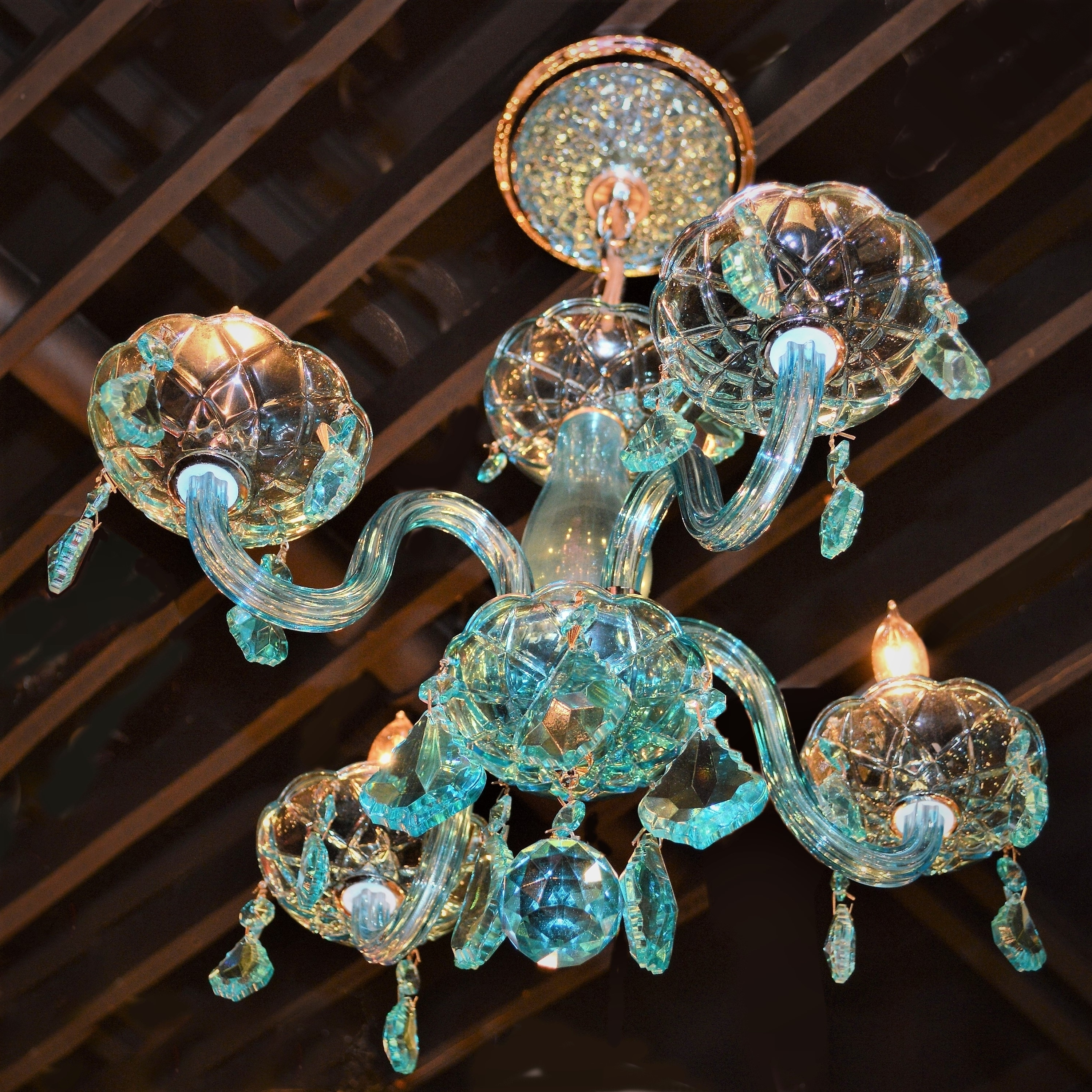 Kids Room Glamorous 4 Light Full Lead Turquoise Blue Crystal For 2018 Turquoise Chandelier Crystals (View 12 of 20)