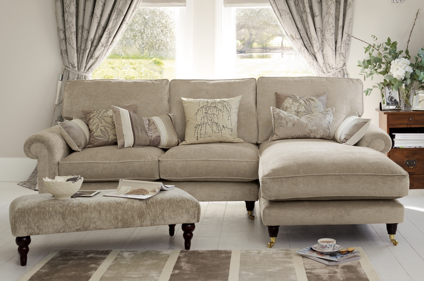 "Kingston"" Sectional Sofa With Chaise In Sable Beige From Laura In Fashionable Kingston Ontario Sectional Sofas (Gallery 1 of 20)"