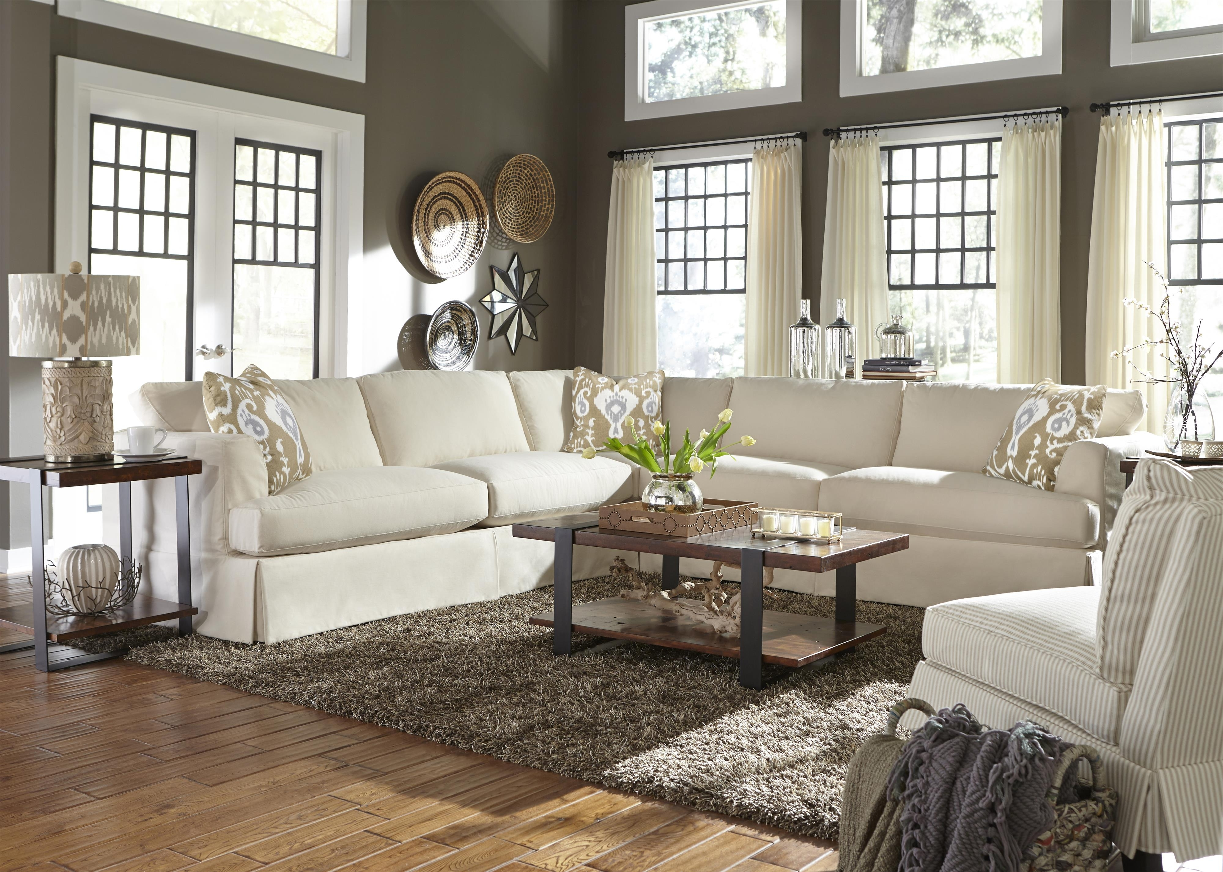 Klaussner Bentley Casual Sectional Sofa With Slip Cover (View 14 of 20)