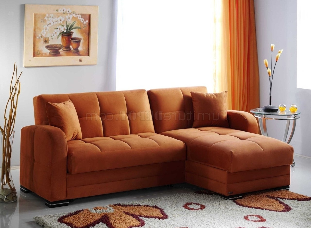 Kubo Sectional Sofa Bed In Rainbow Orange Fabricsunset Intended For Most Recent Jcpenney Sectional Sofas (View 18 of 20)