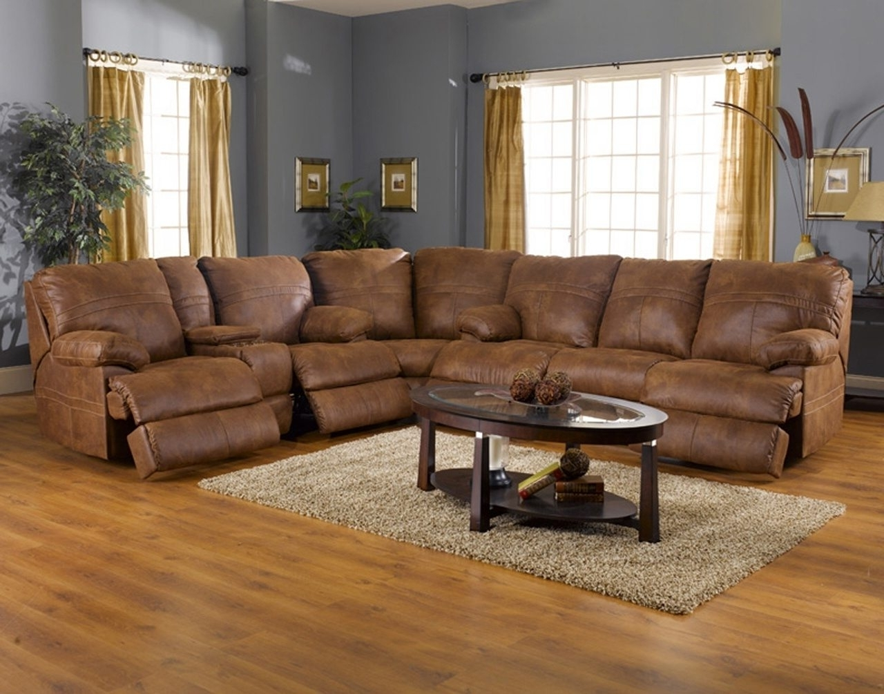 L Shaped Light Brown Leather Reclining Sectional With Oval Coffee Regarding Famous Leather Recliner Sectional Sofas (View 9 of 20)