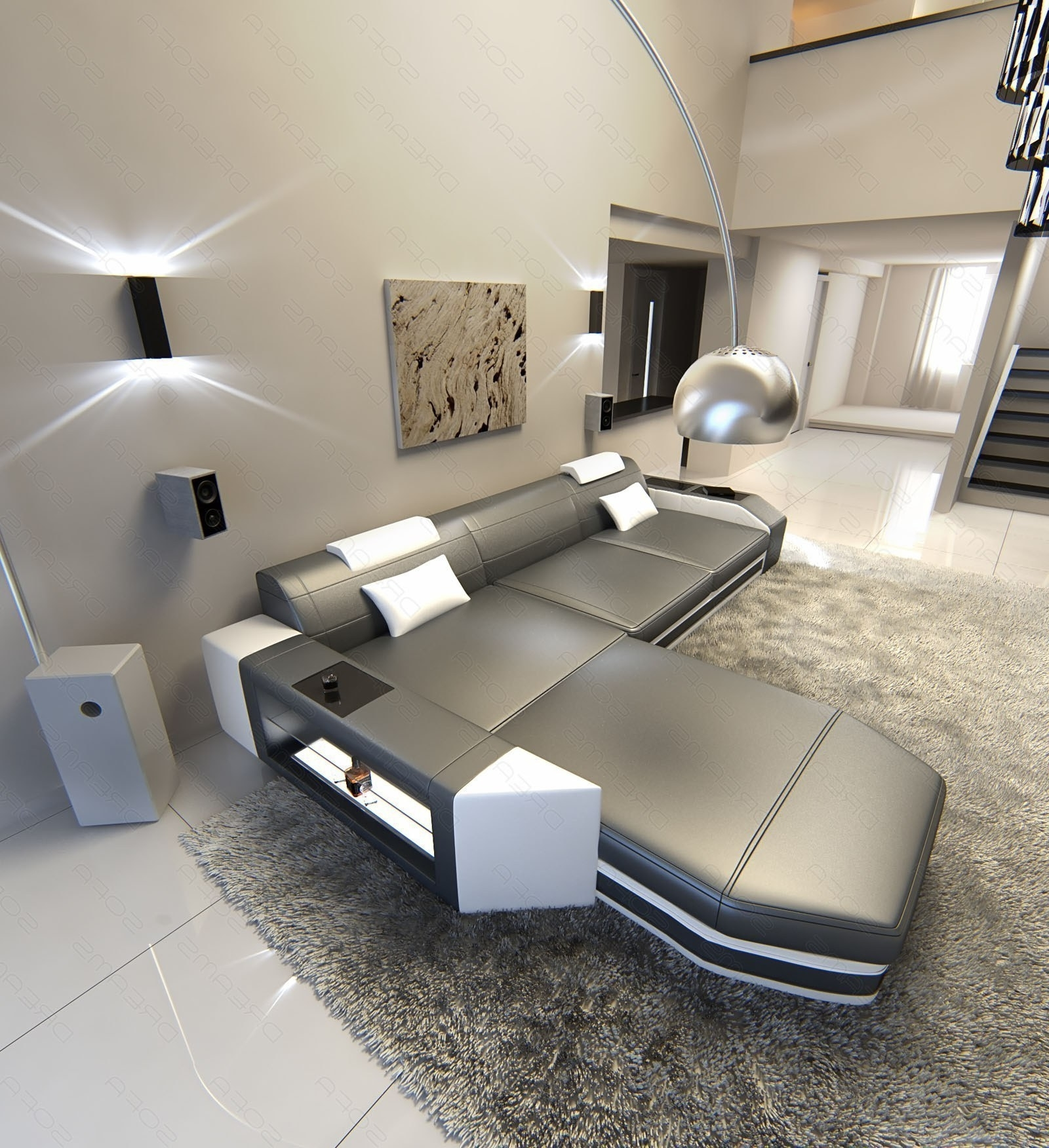 L Shaped Sofas Throughout 2019 Modern L Shaped Sofa Dallas With Led Lights Leather Sofa Grey (View 7 of 20)