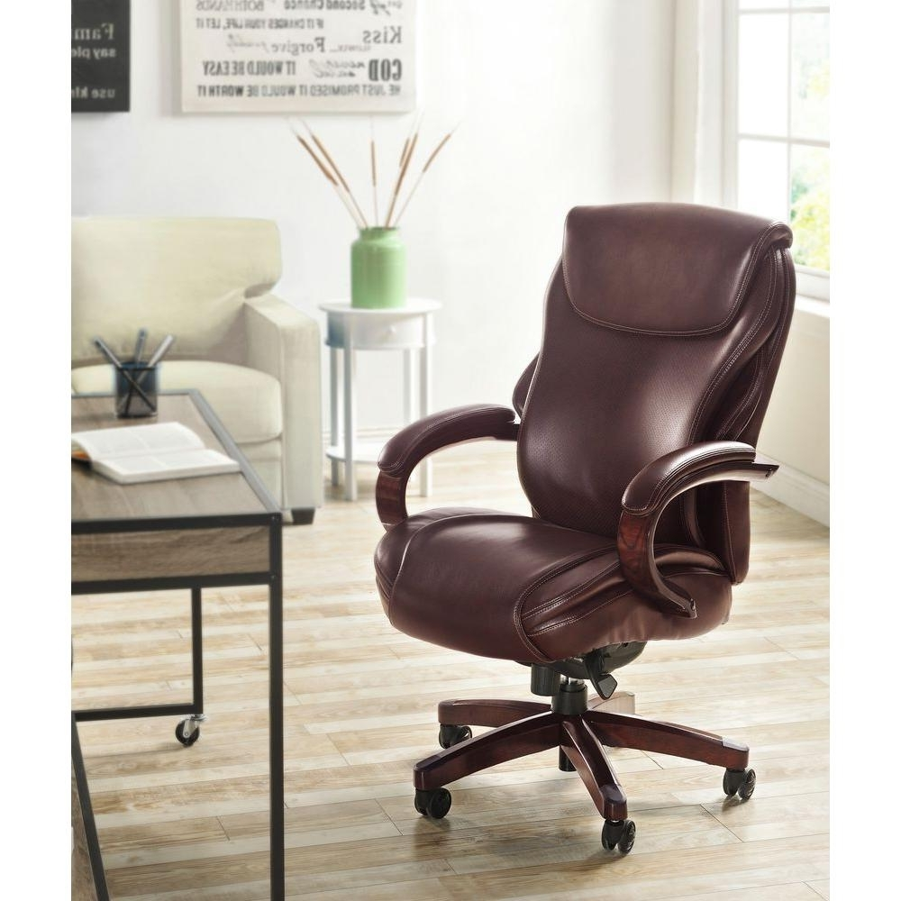 La Z Boy Hyland Coffee Brown Bonded Leather Executive Office Chair Inside Current Wood And Leather Executive Office Chairs (View 18 of 20)