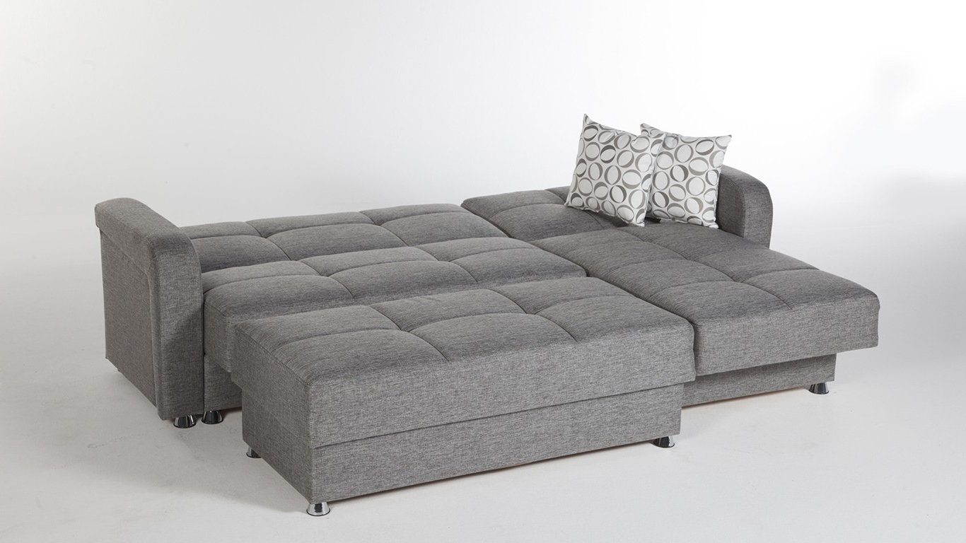 Large 3 Piece Microfiber Tufted Sectional Sleeper Sofa With Throughout Famous Sectional Sleeper Sofas With Ottoman (View 8 of 20)