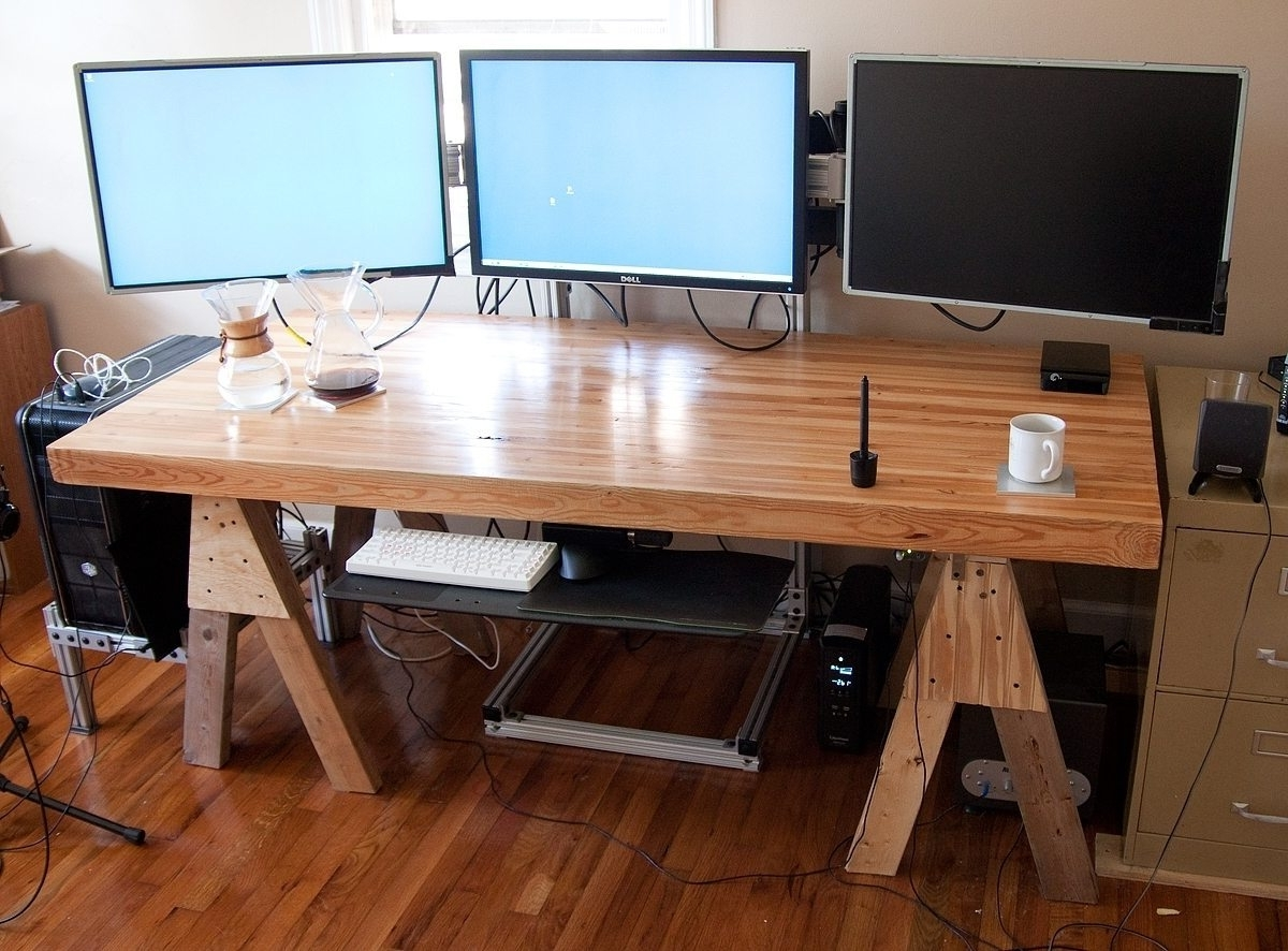 Large Computer Desks Within Famous Office And Custom Wood Computer Desk – Tikspor (View 10 of 20)