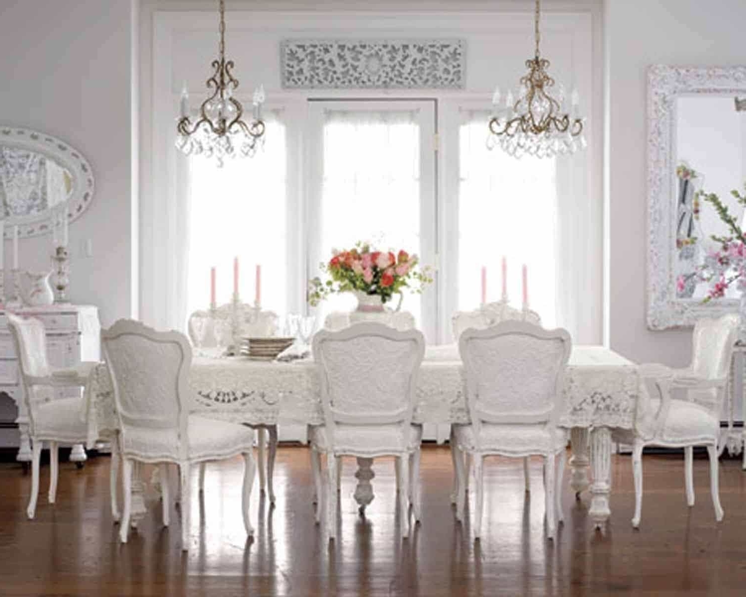 Large Shabby Chic Dining Room With Double Small Chandeliers Over Regarding Newest Small Shabby Chic Chandelier (View 4 of 20)