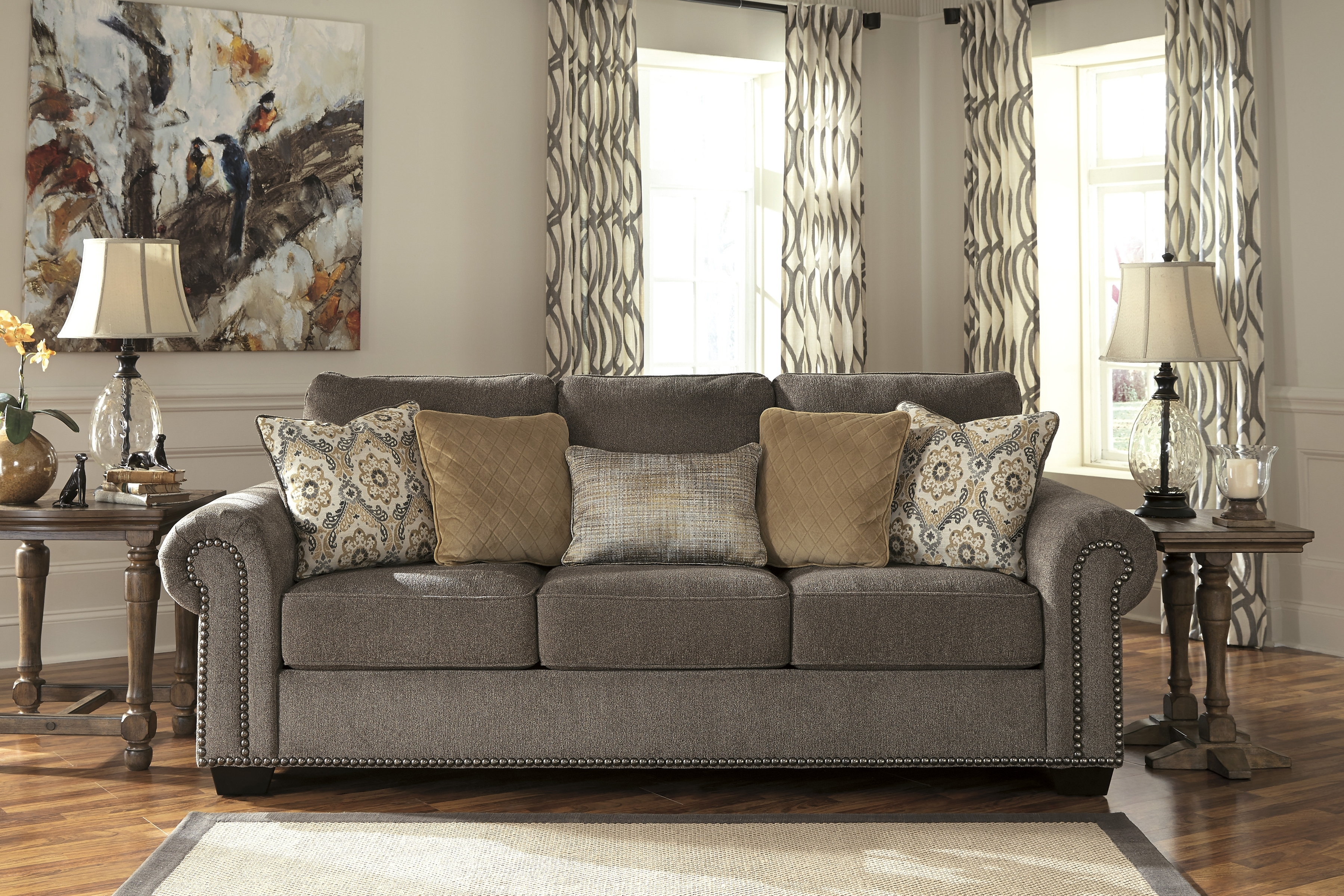 Latest Ashley Tufted Sofas With Regard To Signature Designashley 4560038 Emelen Alloy Sofa (View 13 of 20)