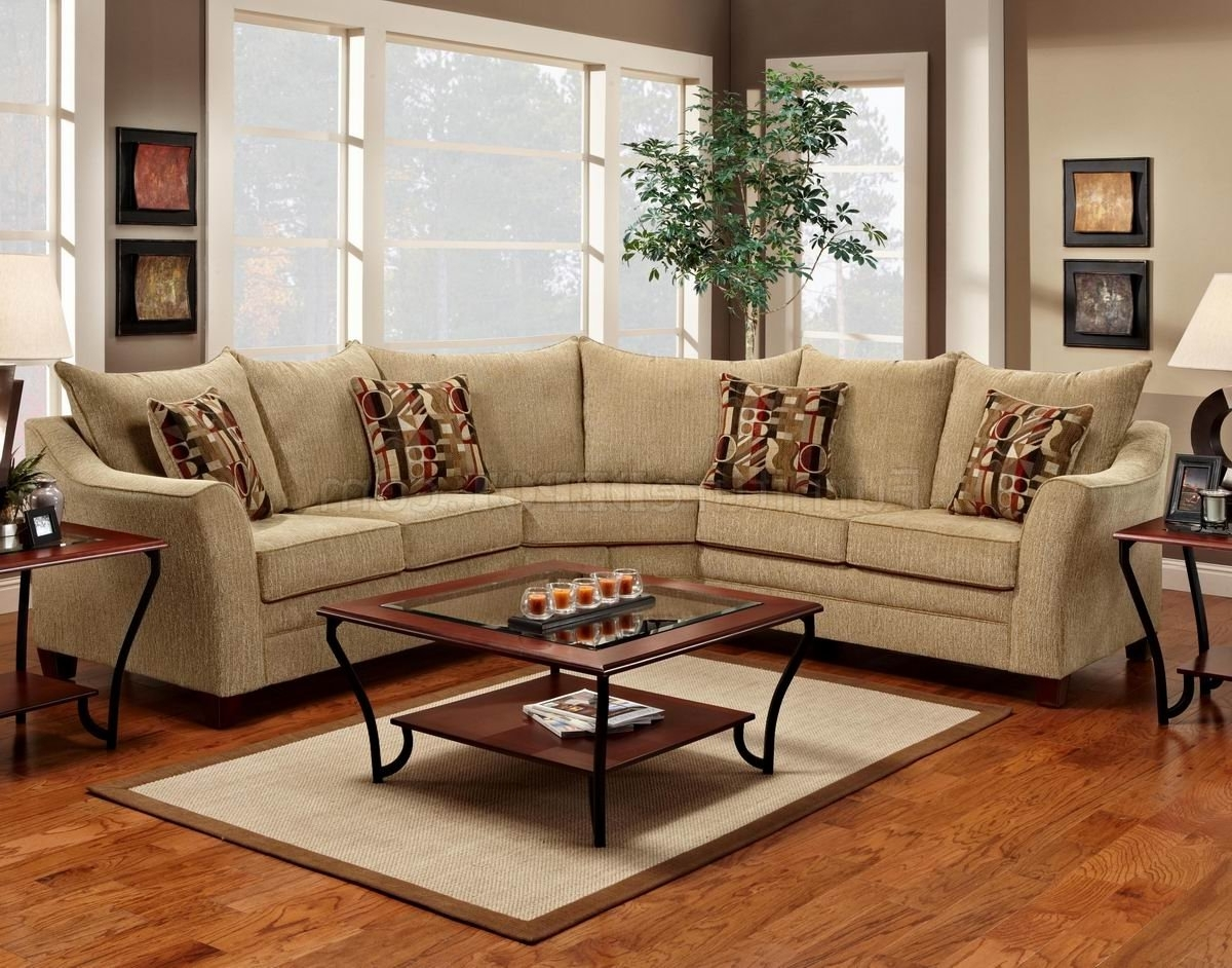 Latest Beige Fabric Elegant Modern Sectional Sofa Within Beige Sectional Sofas (View 13 of 20)