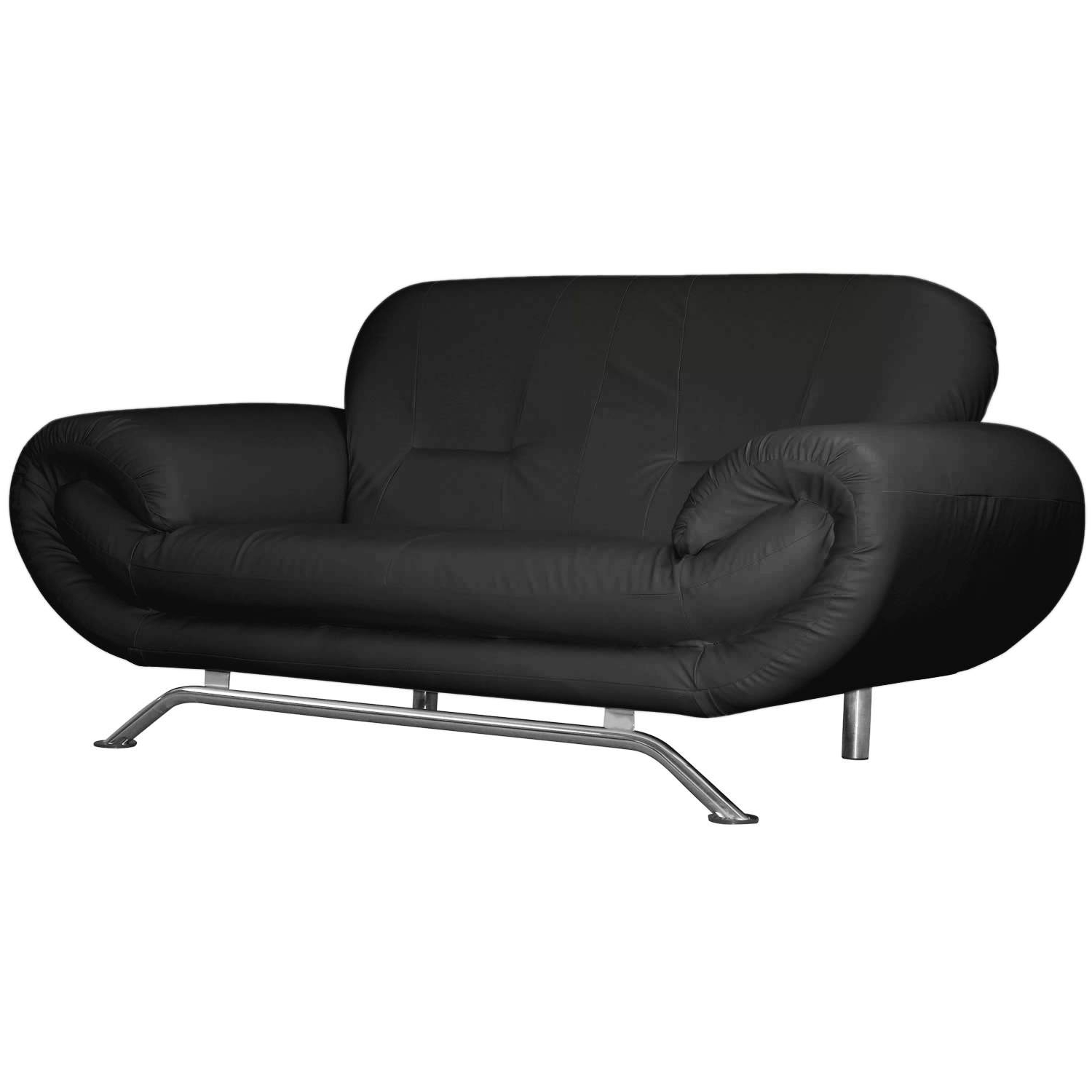 Latest Black 2 Seater Sofas Throughout Nena 2 Seater Faux Leather Sofa – Next Day Delivery Nena 2 Seater (Gallery 19 of 20)