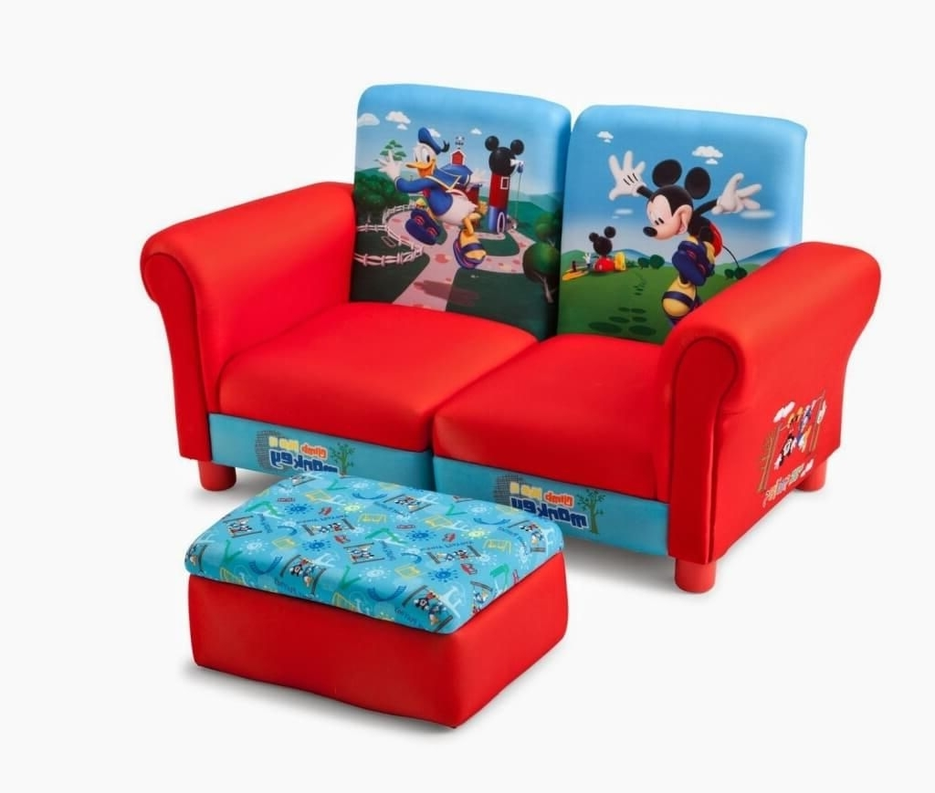 Latest Cheap Kids Sofas Intended For Furniture: Fine Red And Blue Kids Sofa With Storage Ottoman (View 11 of 20)