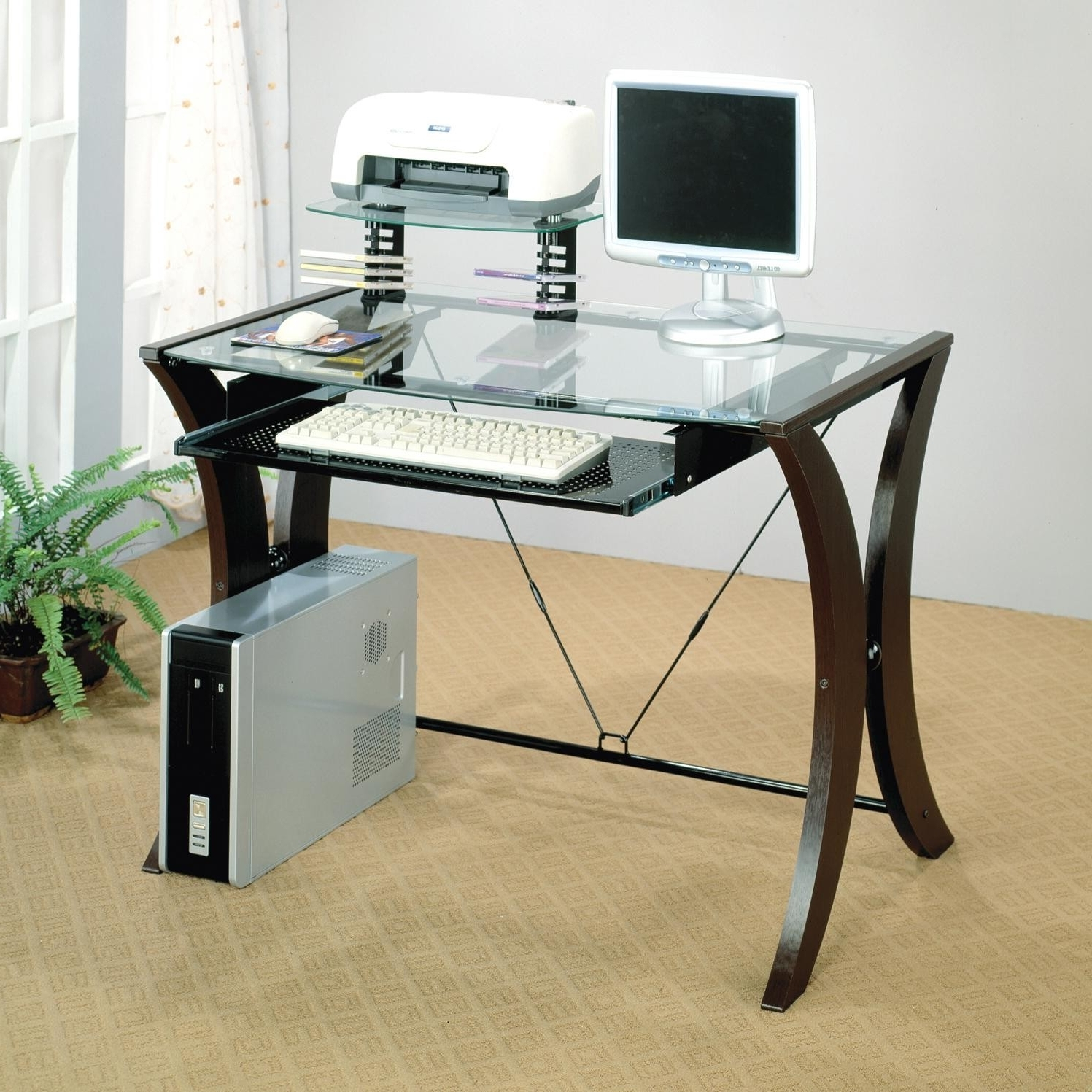 Latest Computer Desks With Keyboard Tray Throughout Glass Top Desk Ideas