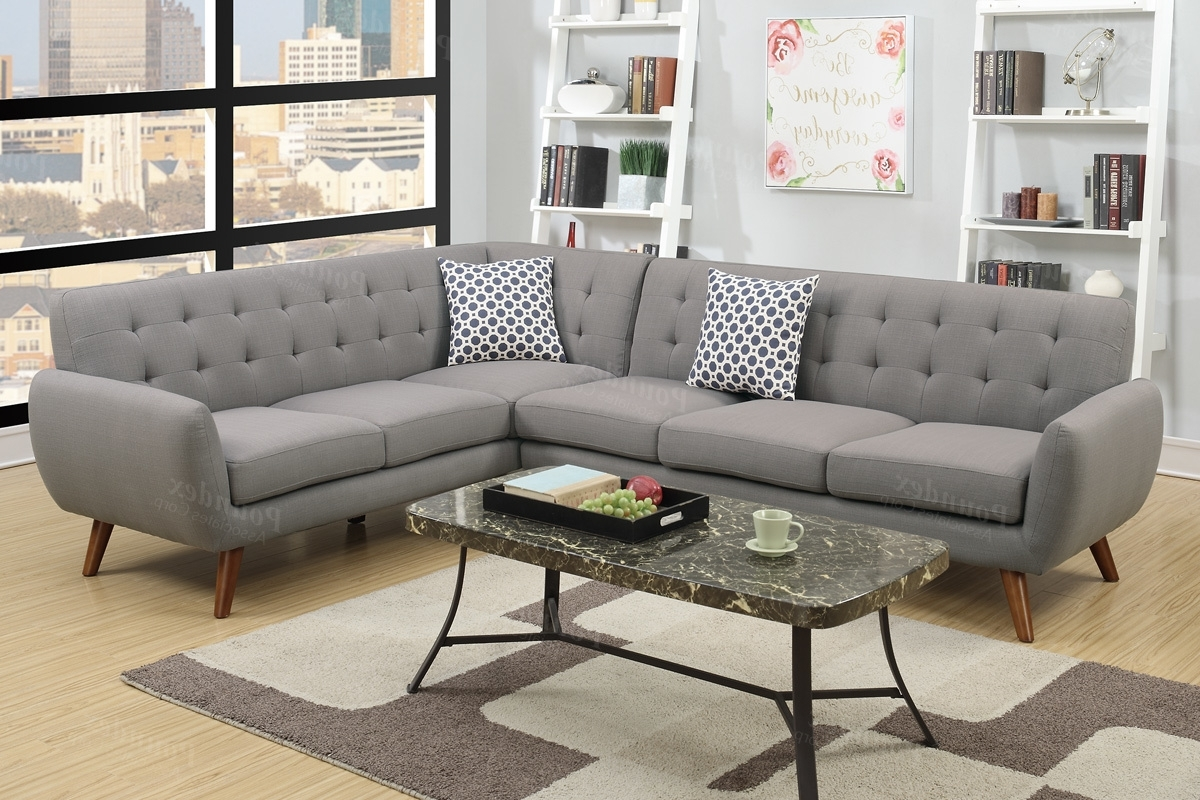 Latest Fabric Sectional Sofas With Regard To Grey Fabric Sectional Sofa – Steal A Sofa Furniture Outlet Los (View 4 of 20)