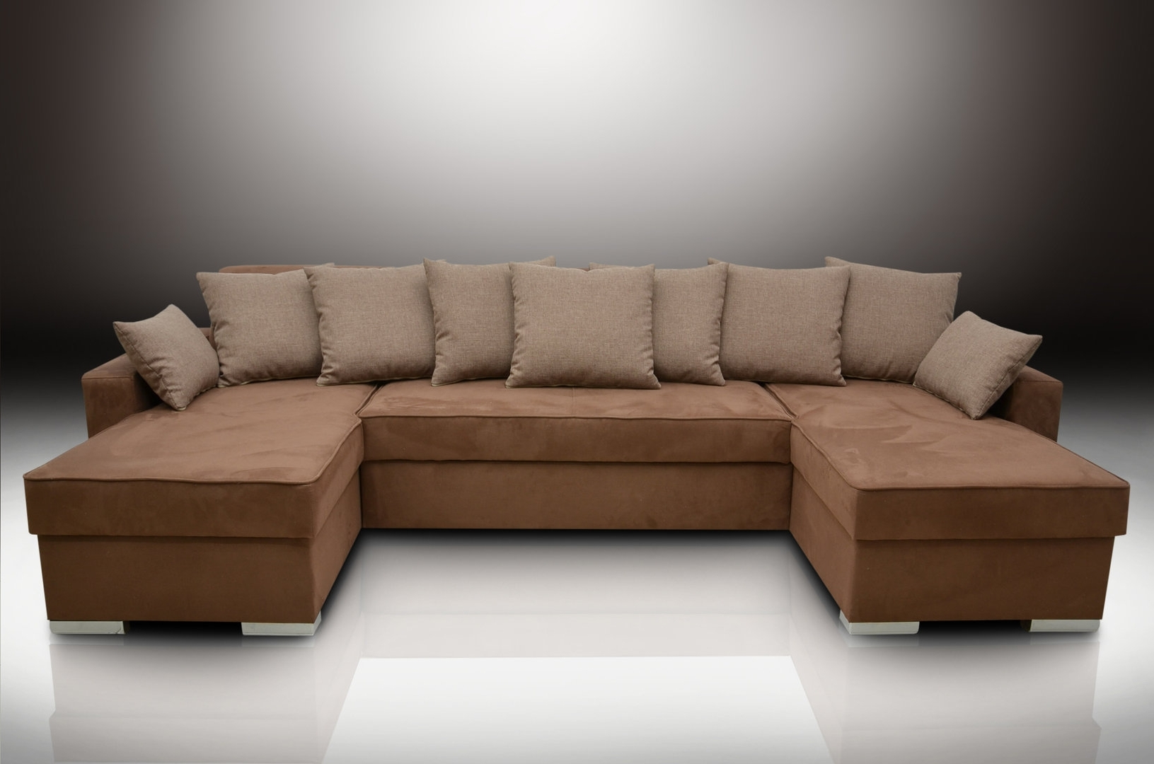 Latest Faux Suede Sofas Inside Chaise Corner Sofa Bed Group Duke, Brown Faux Suede / Linen Look (View 11 of 20)