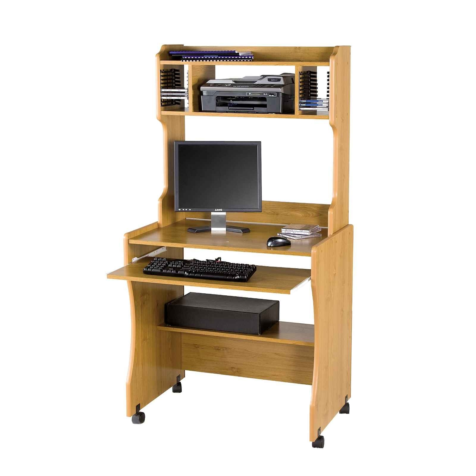 Latest Furniture Light Brown Maple Wood Mobile Computer Table With With Tall Computer Desks (View 7 of 20)