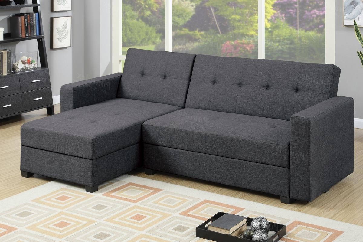 Latest Grey Fabric Sectional Sofa Bed – Steal A Sofa Furniture Outlet Los For Adjustable Sectional Sofas With Queen Bed (View 7 of 20)