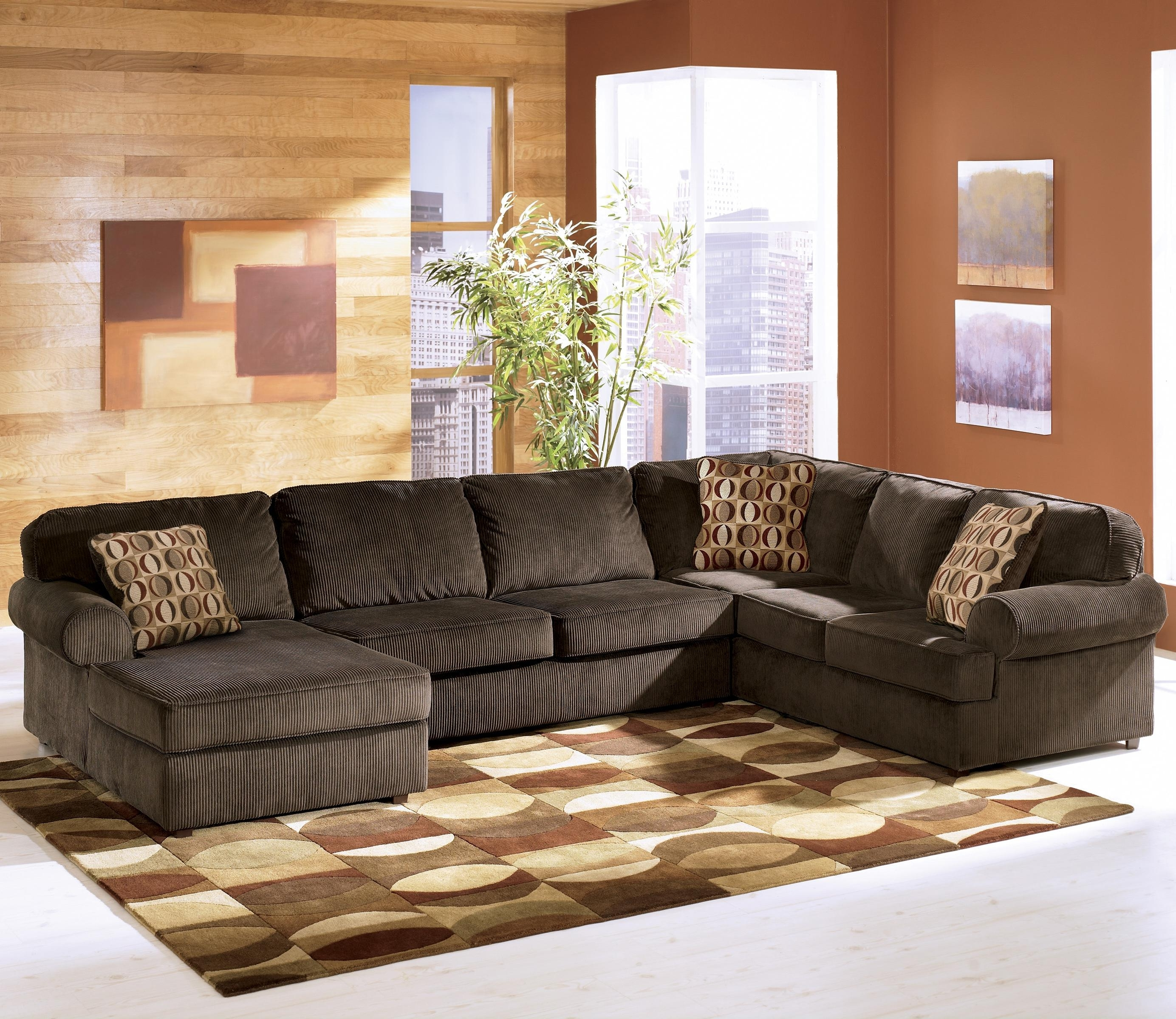 Latest Home Furniture Sectional Sofas Regarding Vista – Chocolate 3 Piece Sectional With Right Chaiseashley (View 12 of 20)