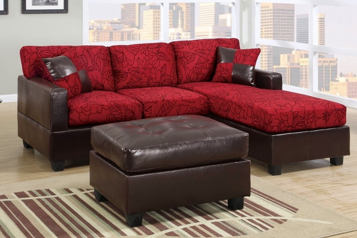 Latest L Shape Sofa With Dark Brown Leather Base And Short Legs Combined In Red Leather Sectional Sofas With Ottoman (View 8 of 20)
