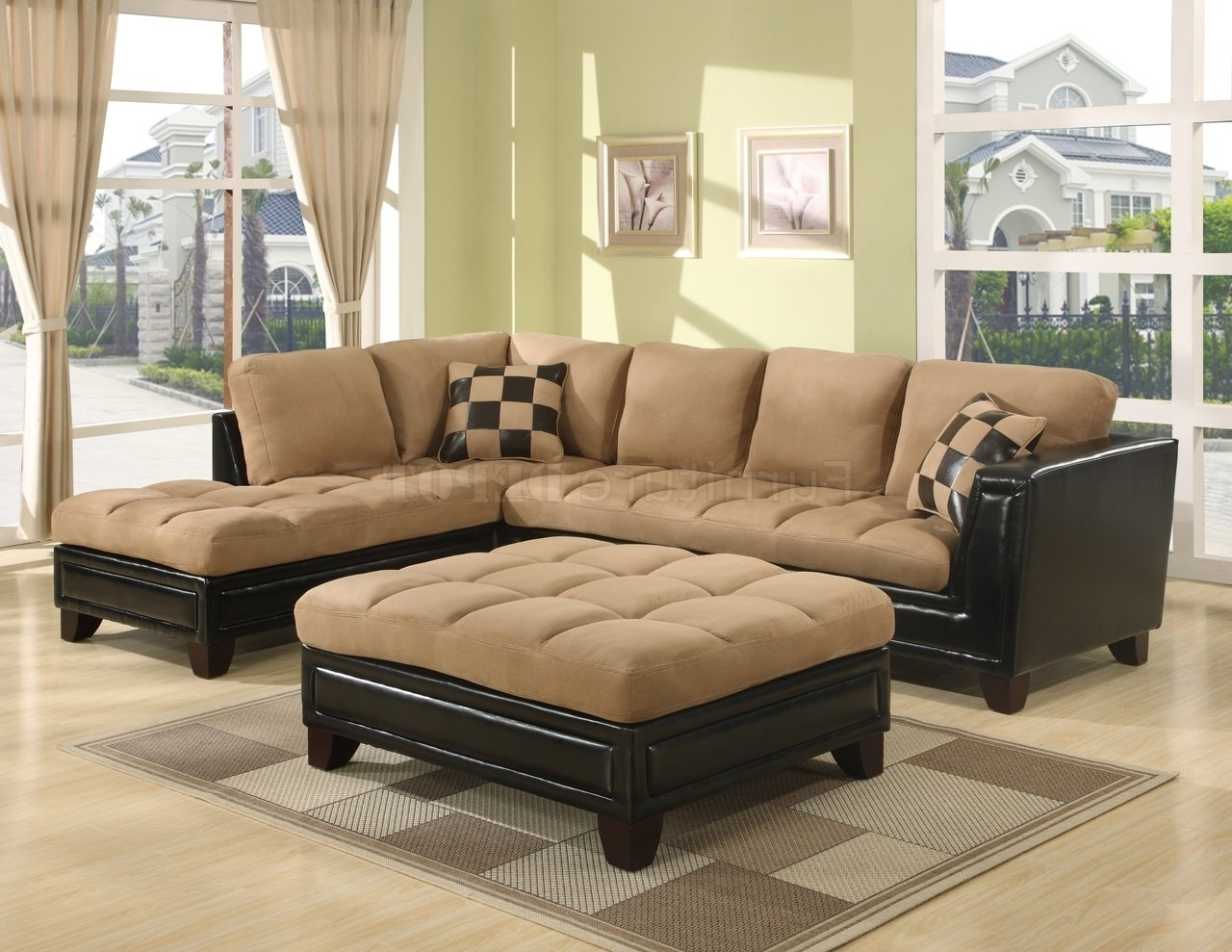Latest Leather And Suede Sectional Sofas For Leather Suede Sectional Sofa 99 With Leather Suede Sectional Sofa (View 8 of 20)