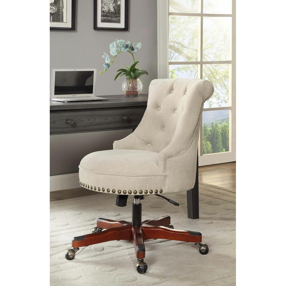 Latest Linon Home Decor Sinclair Natural Polyester Office Chair For Nailhead Executive Office Chairs (View 3 of 20)