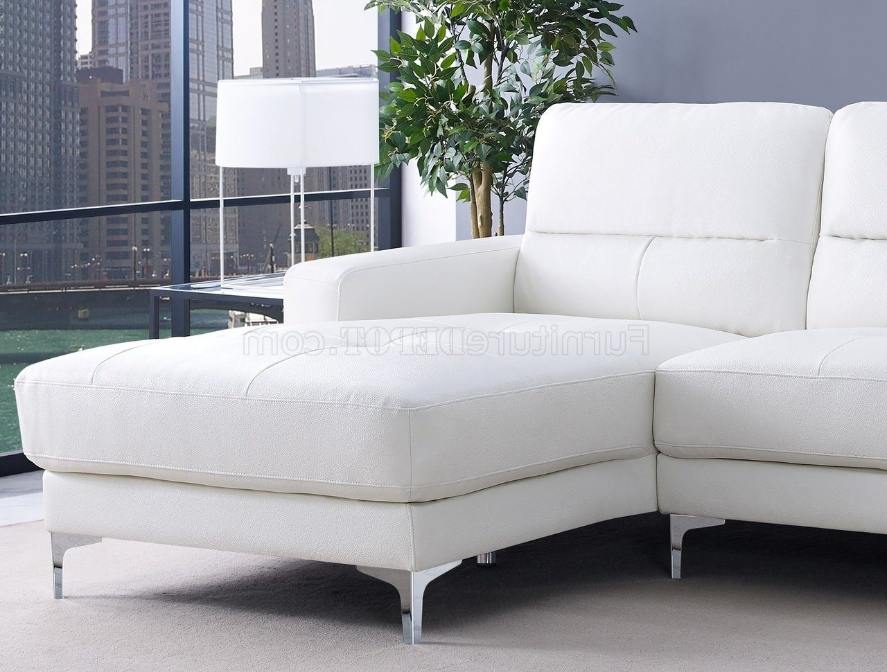 Latest Memphis Sectional Sofas With Regard To Sectional Sofa In White Bonded Leatherwhiteline (View 4 of 20)