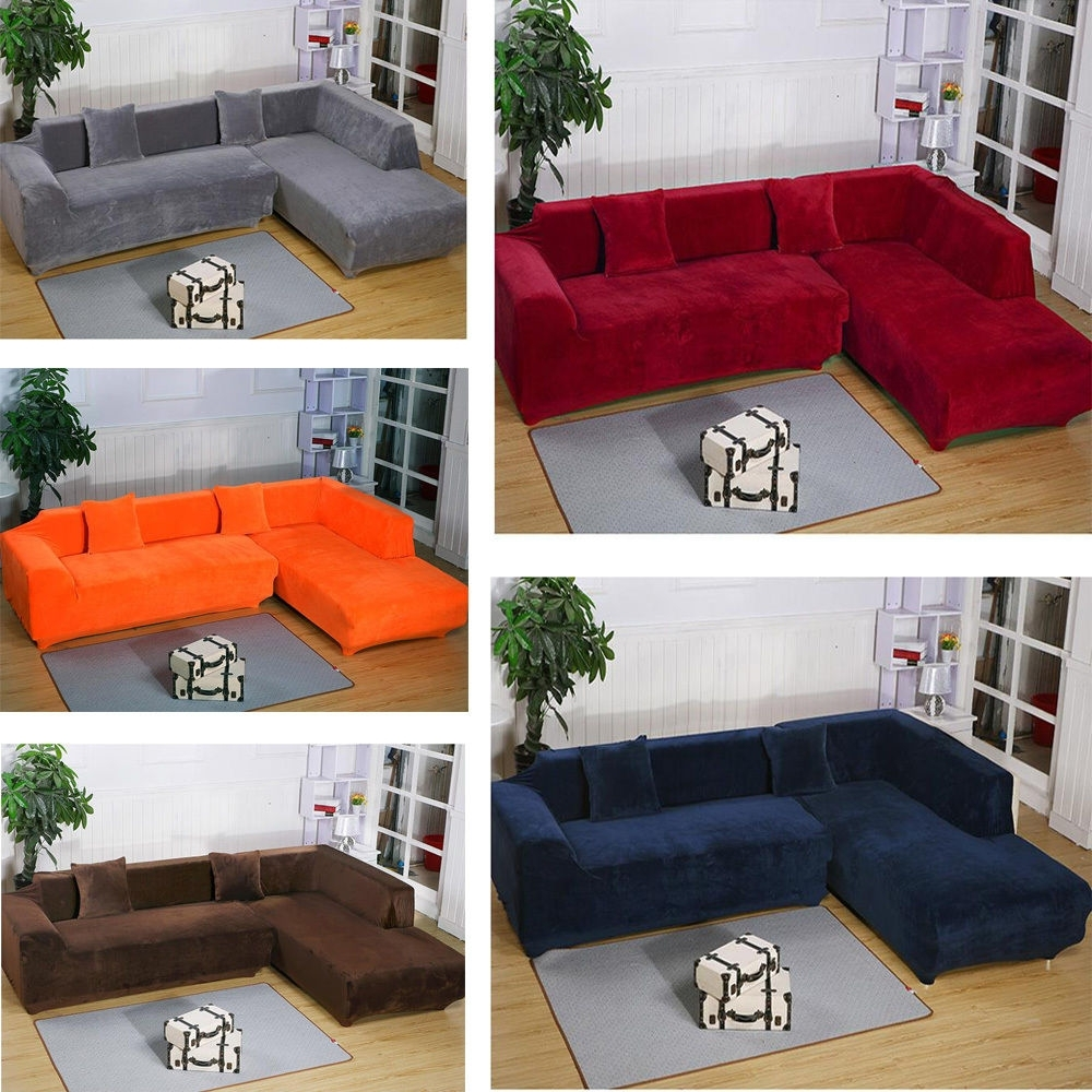 Latest Removable Covers Sectional Sofas Regarding 2Seats 3Seats Plush Stretch Sure Fit L Shaped / Sectional Sofa (View 6 of 20)