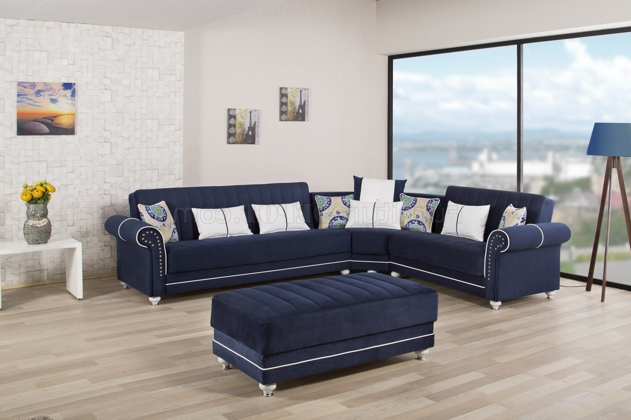 Latest Royal Home Sectional Sofa In Dark Blue Fabriccasamode Throughout Blue Sectional Sofas (View 16 of 20)