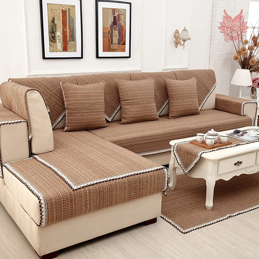 Latest Sectional Sofas From Europe For Europe Style Brown Solid Cotton Linen Sofa Cover Lace Decor (View 5 of 20)