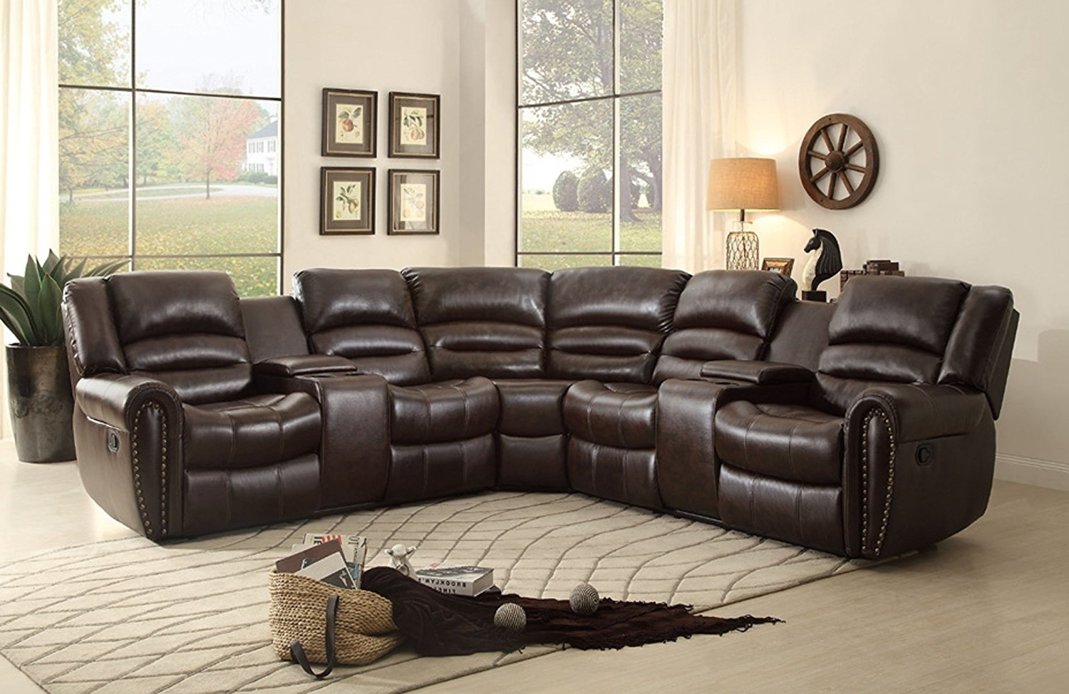 Latest Sectional Sofas With Cup Holders Regarding Sofa : Small Leather Sectional Sofa With Recliner Leather Recliner (View 4 of 20)