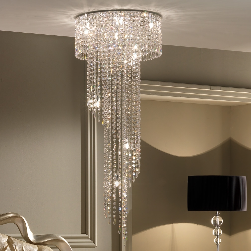 Latest Stairwell Chandelier Pertaining To Designer High End Italian Stairwell Crystal Chandelier (View 6 of 20)