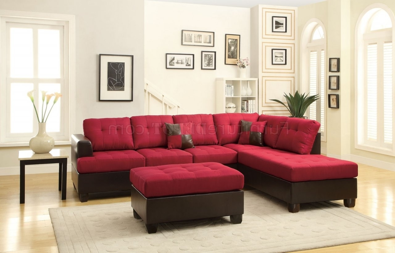 Latest Tucson Sectional Sofas With F7601 Sectional Sofa W/ottomanboss In Carmine Linen Fabric (View 8 of 20)