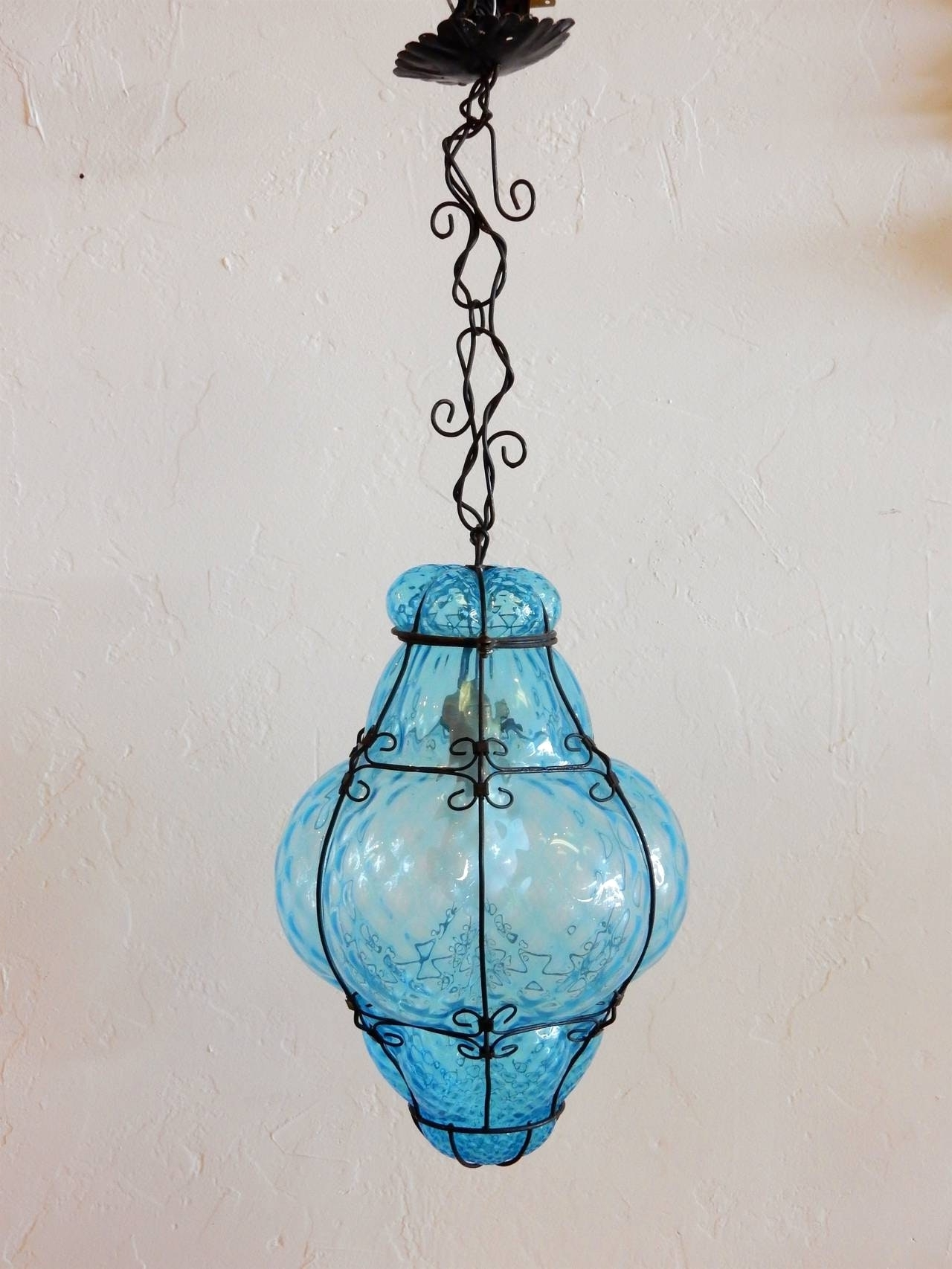 Latest Turquoise Blue Glass Pendant Light And Italian Cage Art Lamp Pertaining To Turquoise Blue Glass Chandeliers (View 7 of 20)