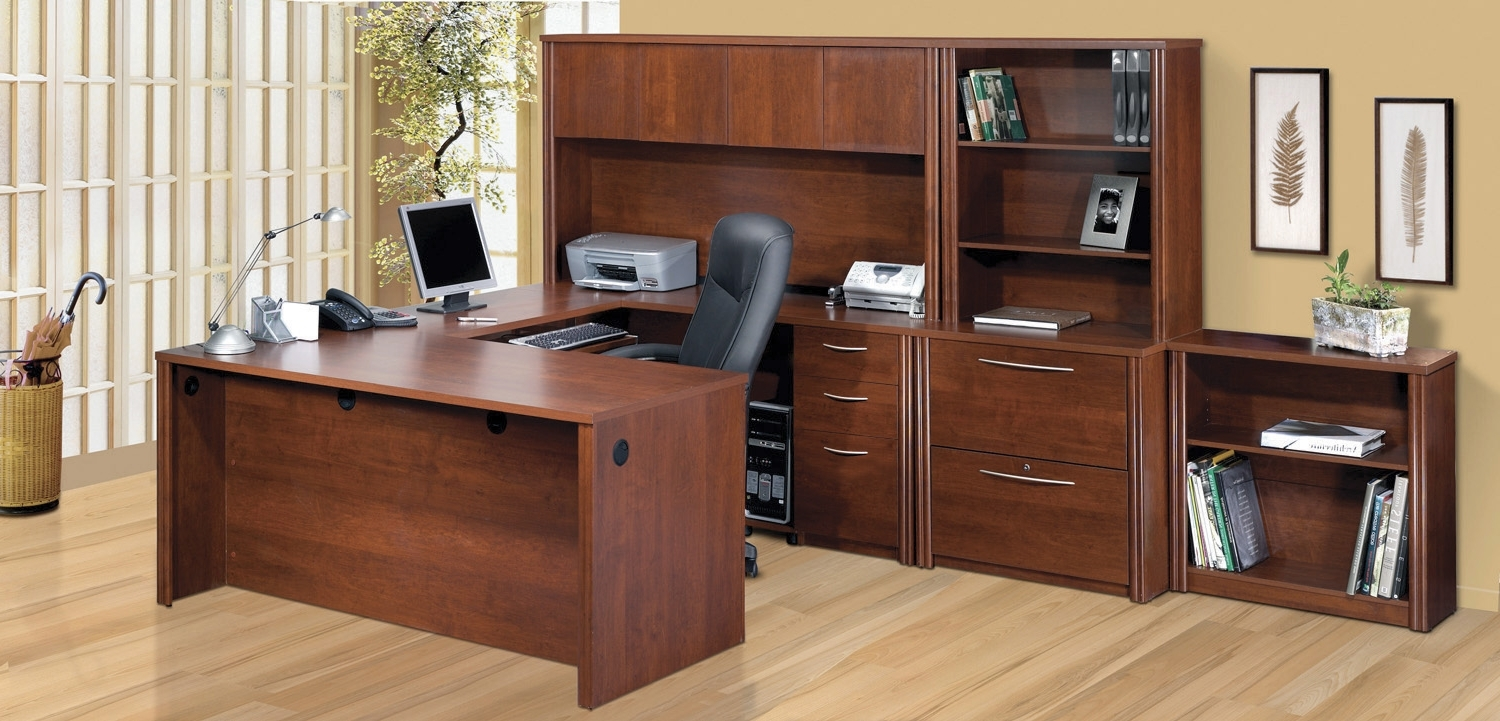 Latest U Shaped Computer Desks Pertaining To Bestar Embassy Deluxe Tuscany Brown U Shaped Computer Desk Set (View 8 of 20)