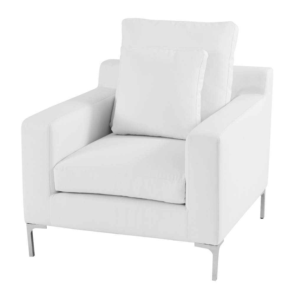 Latest White Fabric Sofa Chair And Ottomanwhite Leather Sofa Chair Tags For White Sofa Chairs (View 11 of 20)