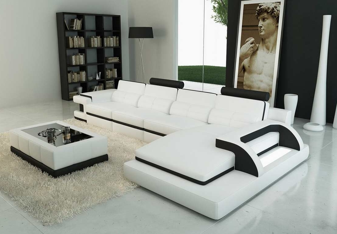 Latest White Sectional Sofas With Regard To Leather White Sectional Sofa — Cabinets, Beds, Sofas And (View 7 of 20)