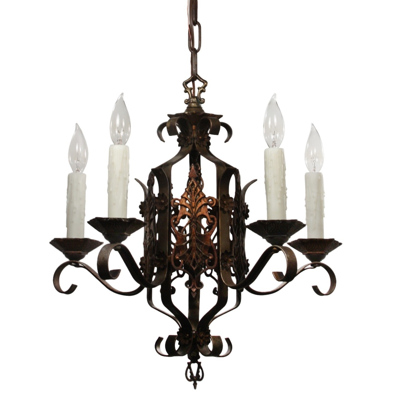 Latest Wrought Iron Chandelier Within Tudor Wrought Iron Chandelier, Antique Lighting – Preservation (View 3 of 20)
