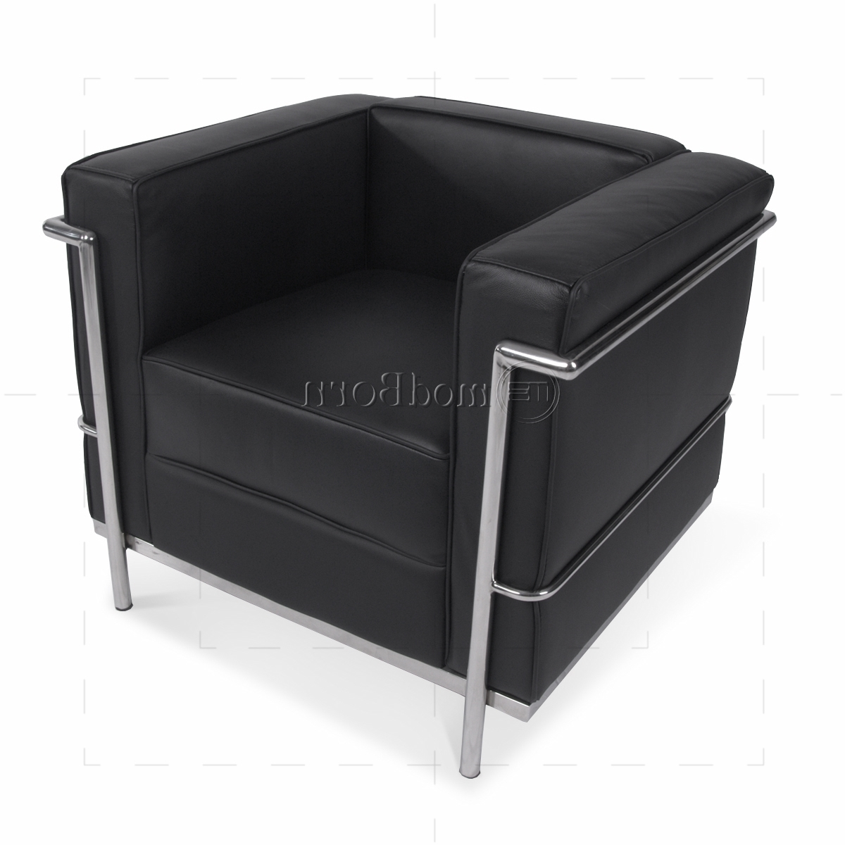 Le Corbusier Style Lc2 Armchair 1 Seater Black Leather – Replica For Fashionable Single Seat Sofa Chairs (View 11 of 20)