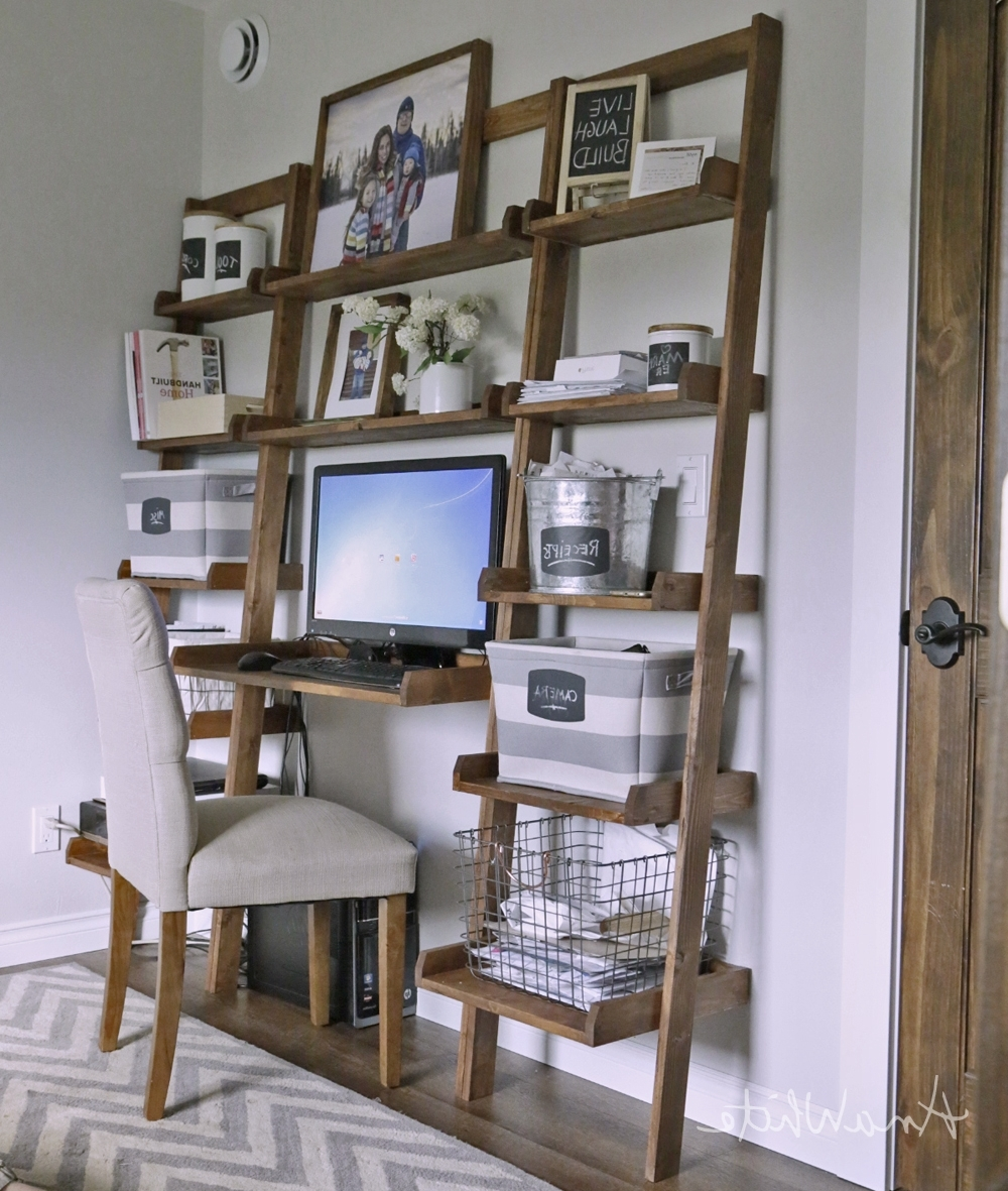 Leaning Wall Ladder Desk – Diy Projects With Computer Desks With Bookshelves (View 6 of 20)
