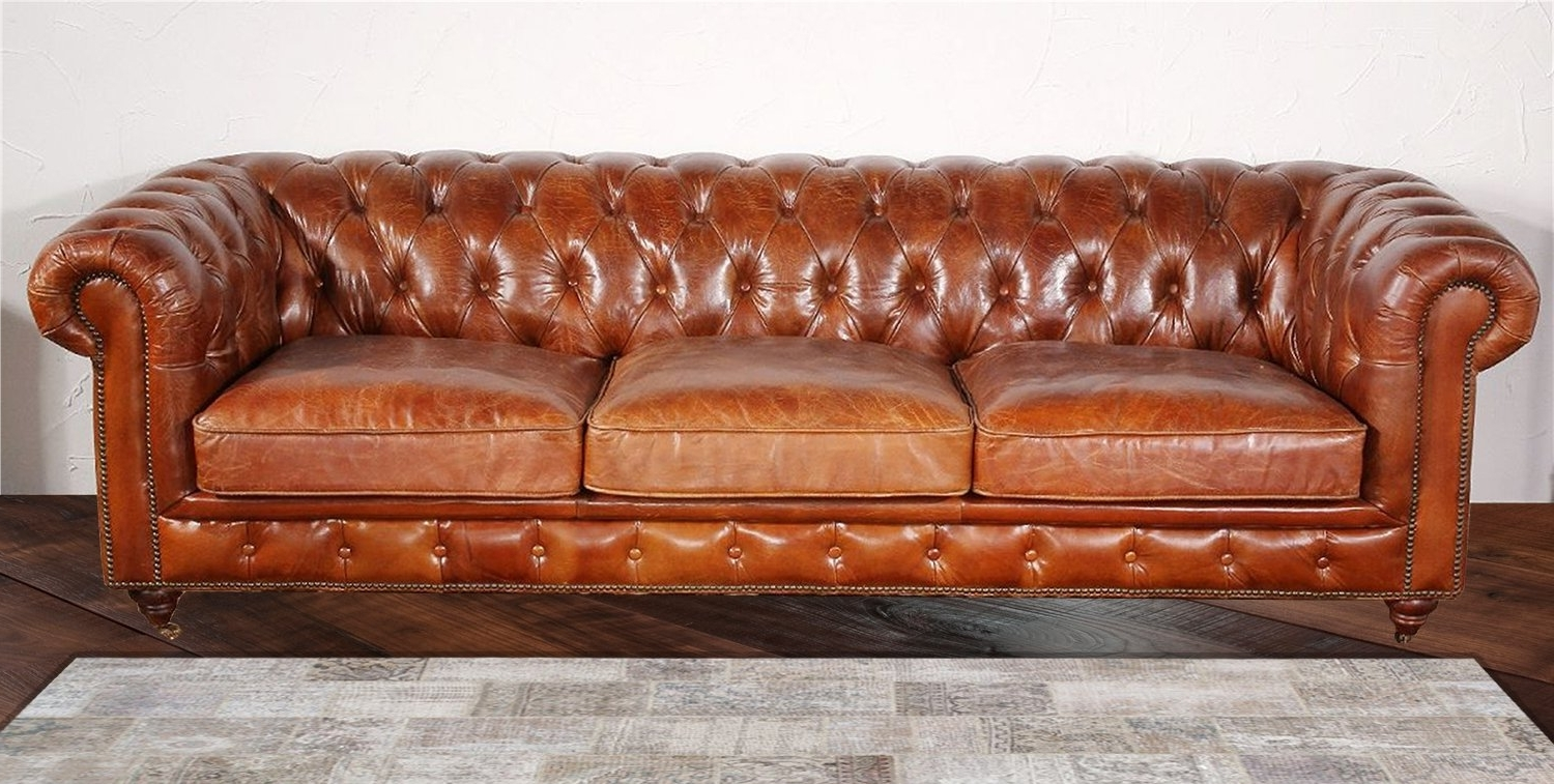 Leather Chesterfield Sofas Regarding Most Recent Pasargad Chester Bay Tufted Genuine Leather Chesterfield Sofa (View 11 of 20)