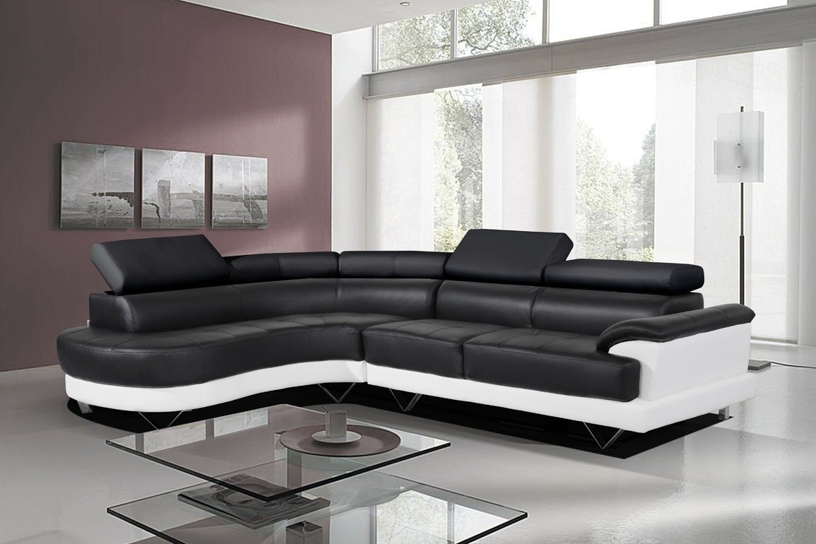 Leather Corner Sofas With Famous Cosmo Black And White Leather Corner Sofa Right/hand Best – S3net (View 17 of 20)