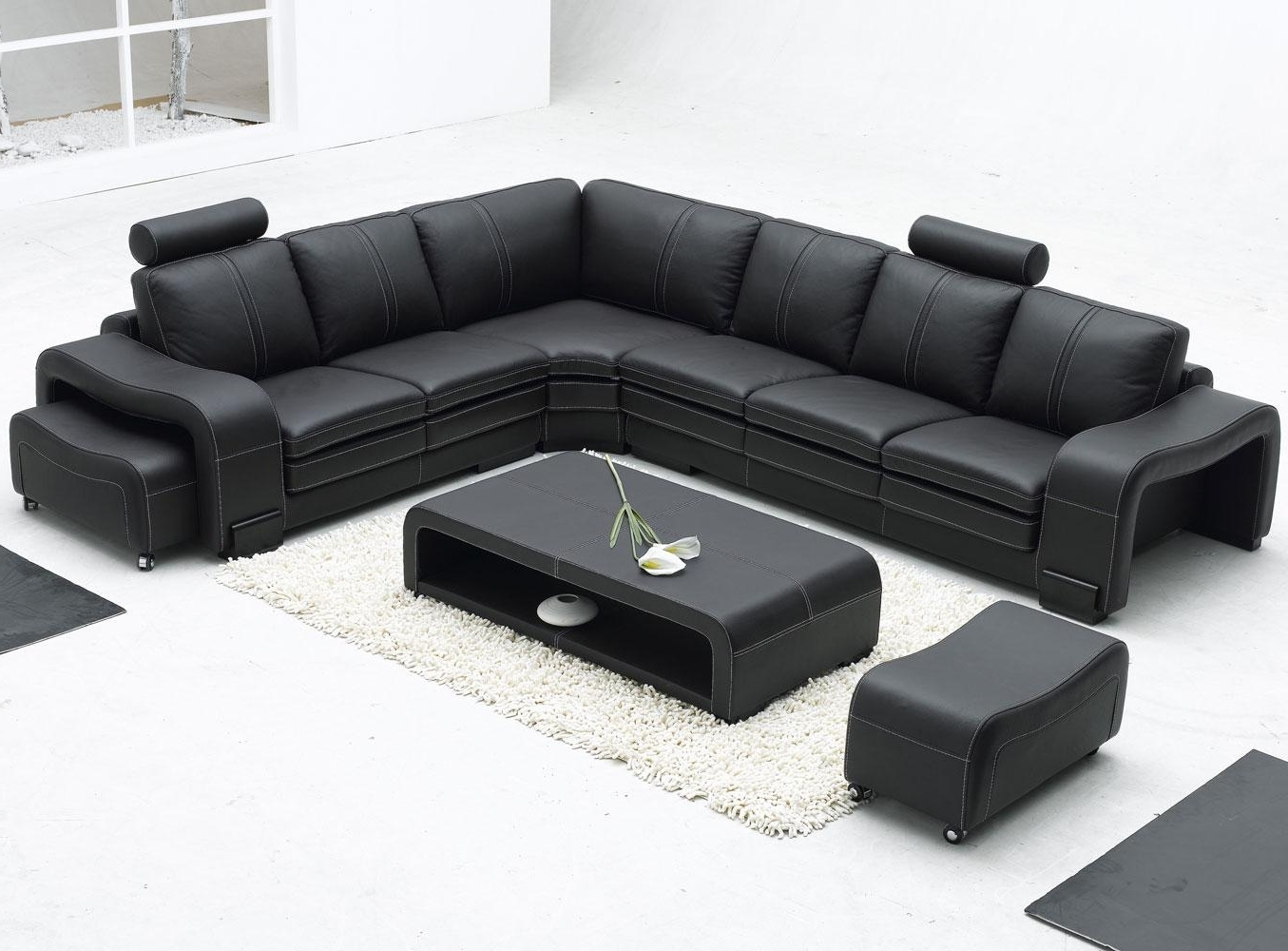 Leather L Shaped Sectional Sofas Intended For Latest Sofa : Sofa And Chair Contemporary Leather Sectional With Recliner (View 9 of 20)