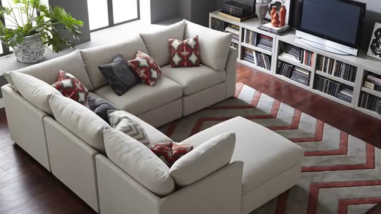 Leather Modular Sectional Sofas Throughout 2018 The Beckham Sectional Sofabassett Furniture – Youtube (View 8 of 20)